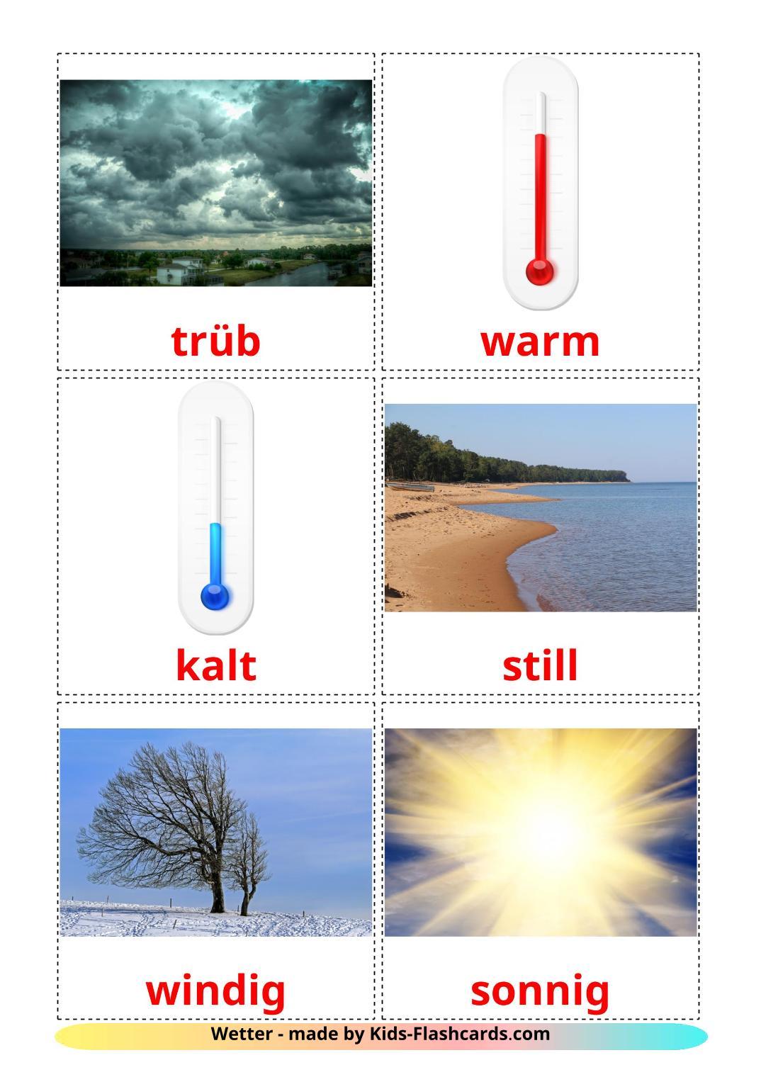Weather - 31 Free Printable german Flashcards