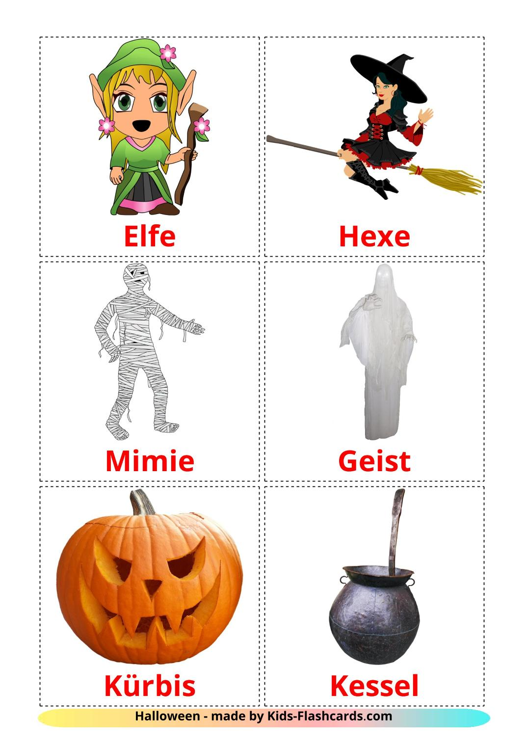 Halloween - 16 Free Printable german Flashcards