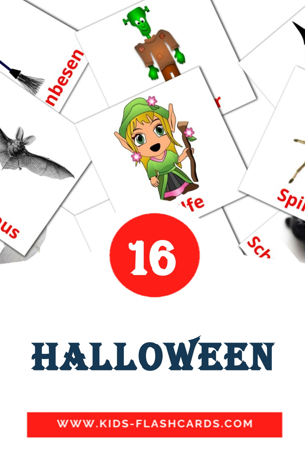 16 Halloween Picture Cards for Kindergarden in german