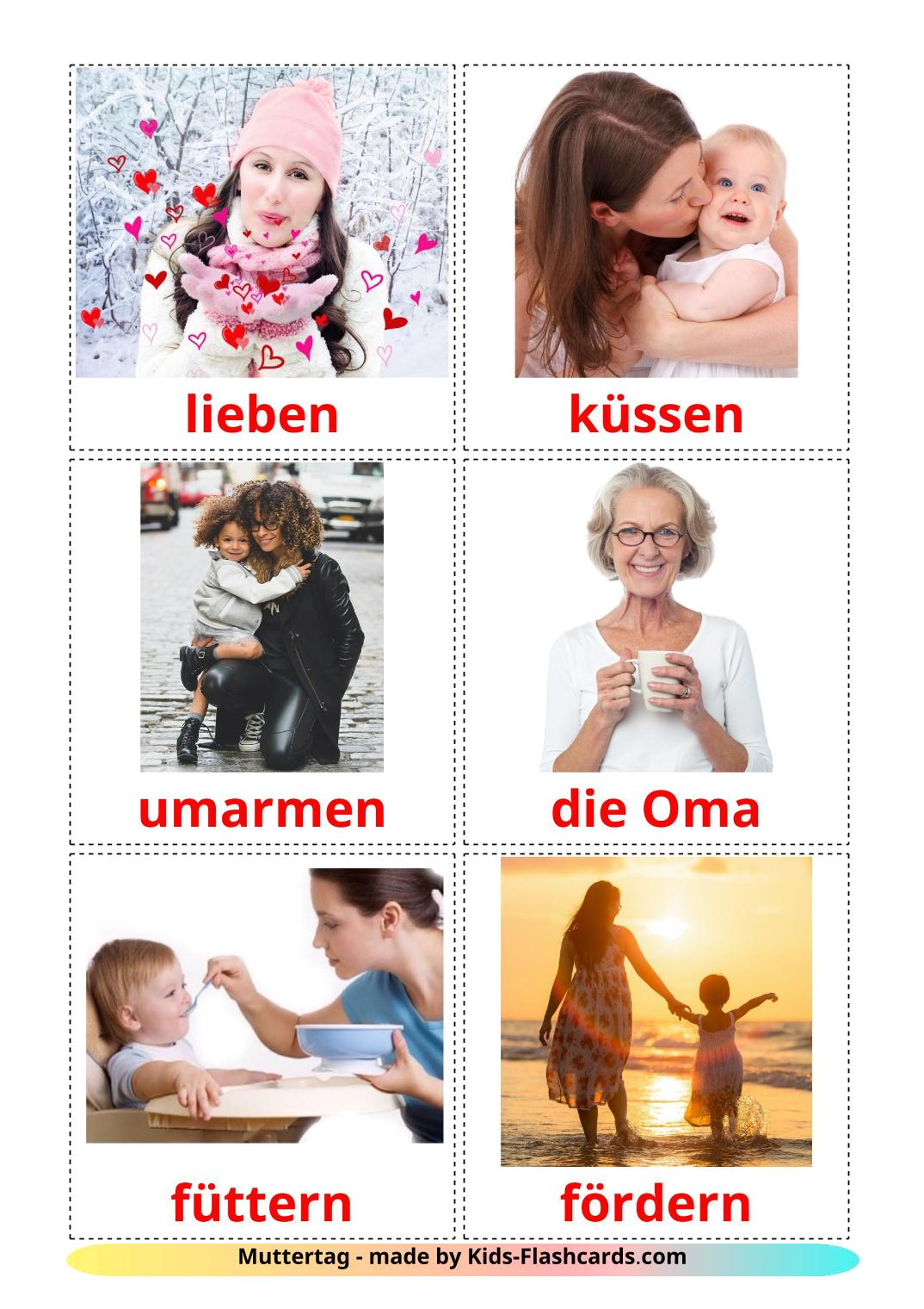 Mother's day - 25 Free Printable german Flashcards
