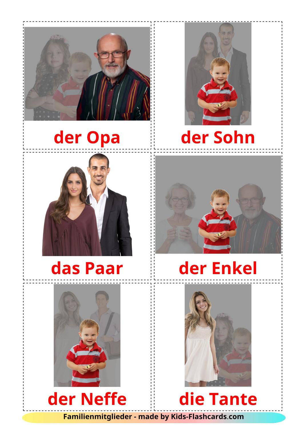 Family members - 32 Free Printable german Flashcards