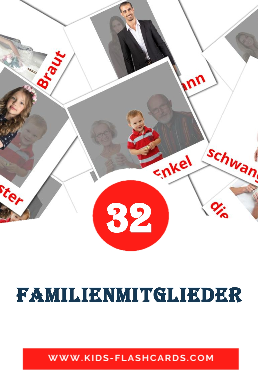 32 Die Familie Picture Cards for Kindergarden in german
