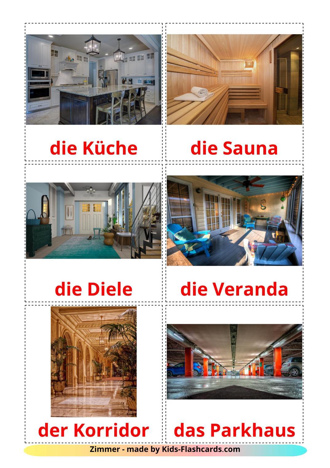 Rooms - 17 Free Printable german Flashcards