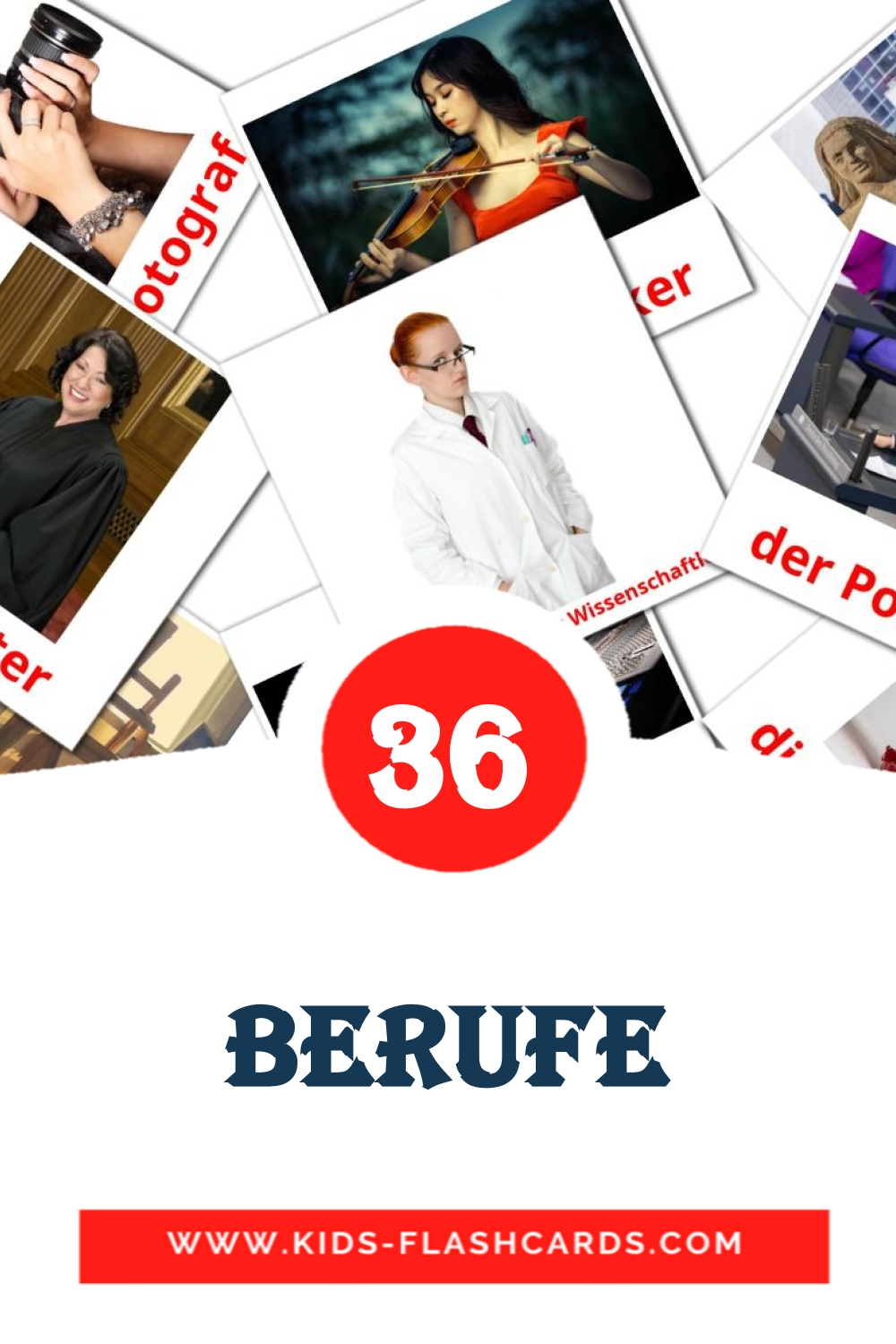 36 Berufe Picture Cards for Kindergarden in german