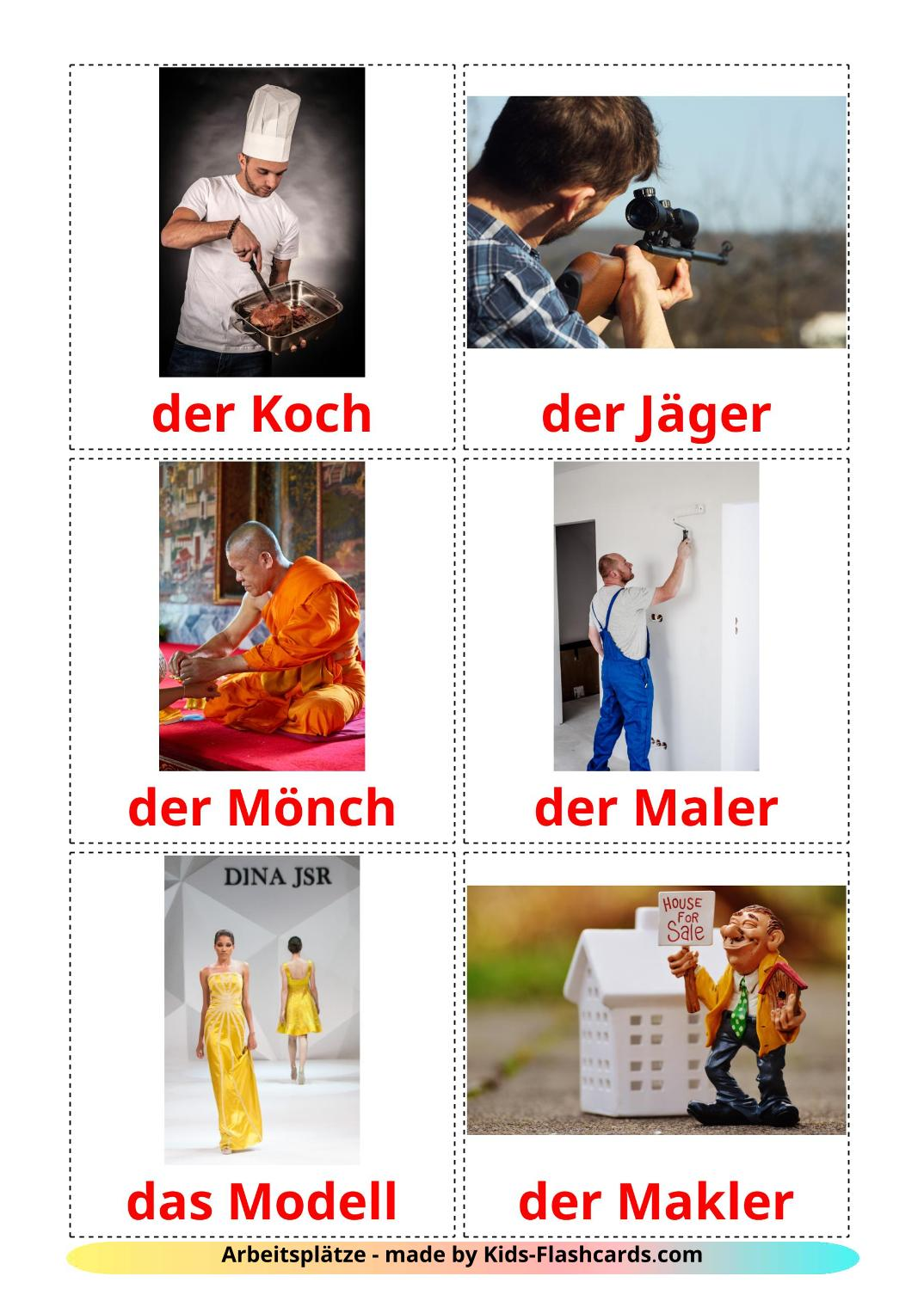 Jobs and Occupations - 51 Free Printable german Flashcards