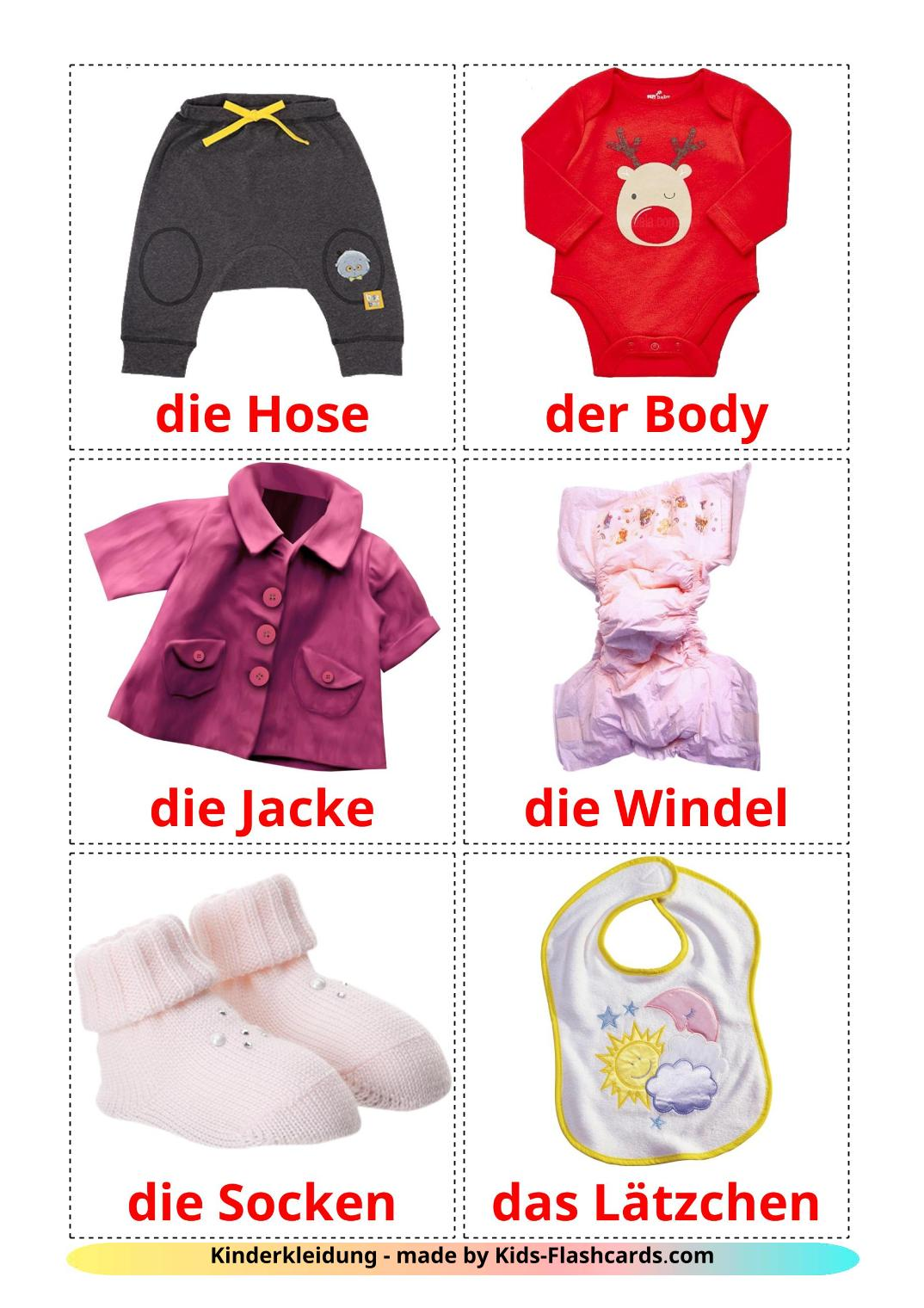 Baby clothes - 12 Free Printable german Flashcards