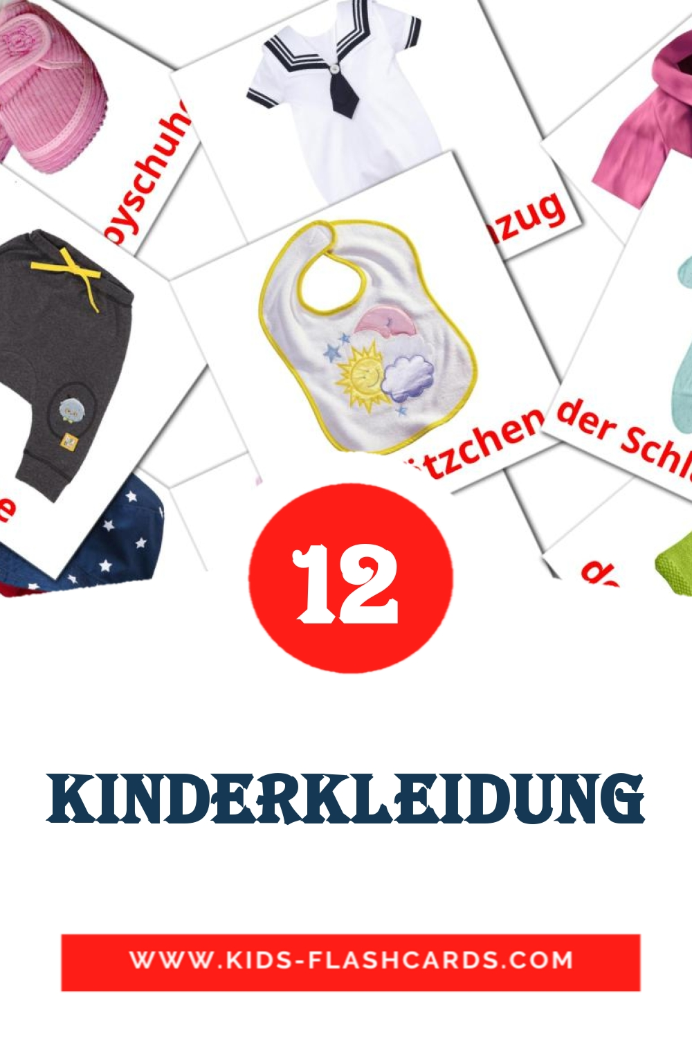 12 Die Kinderkleidung  Picture Cards for Kindergarden in german