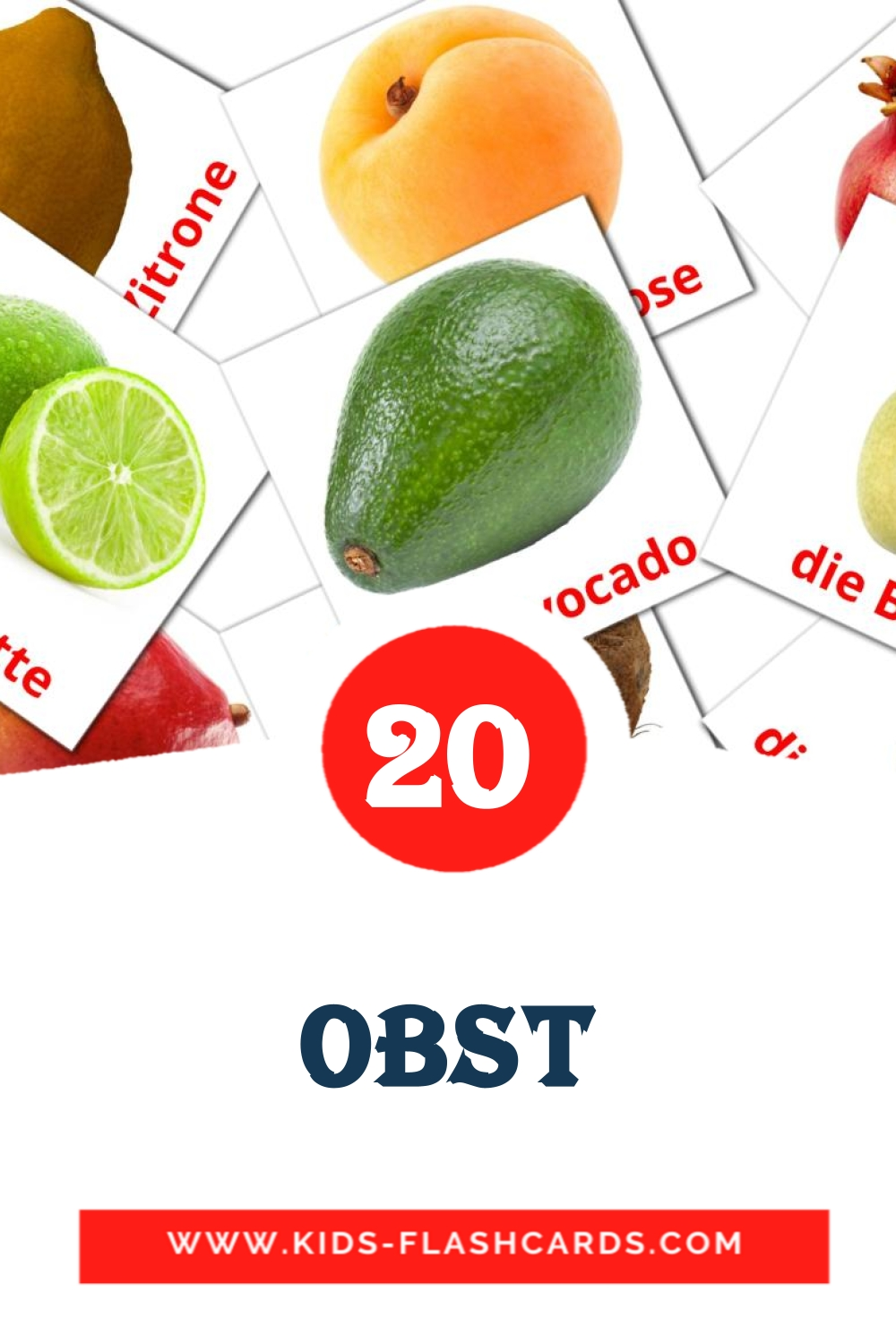 20 Das Obst  Picture Cards for Kindergarden in german