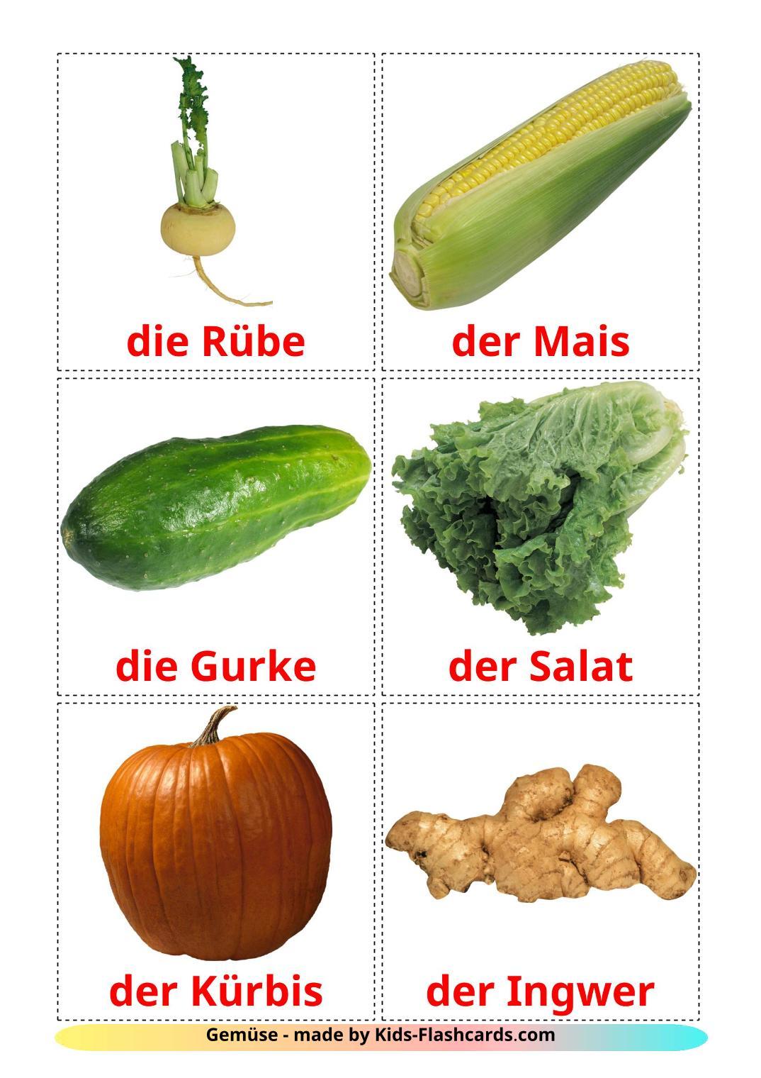 Vegetables - 29 Free Printable german Flashcards
