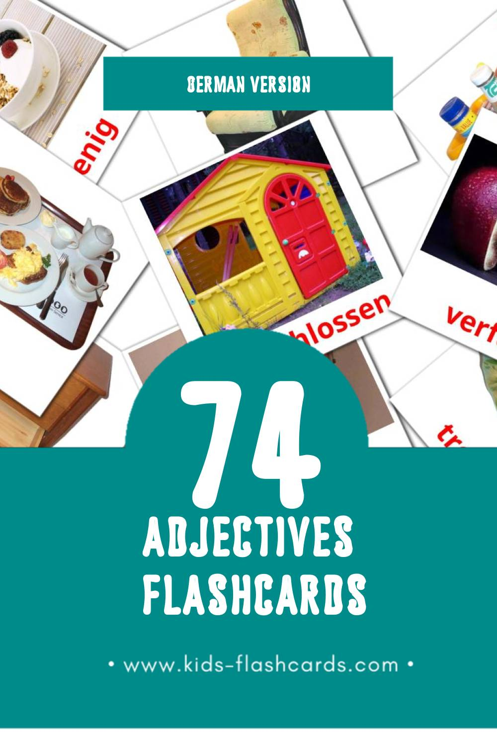 Visual Adjektive Flashcards for Toddlers (74 cards in German)