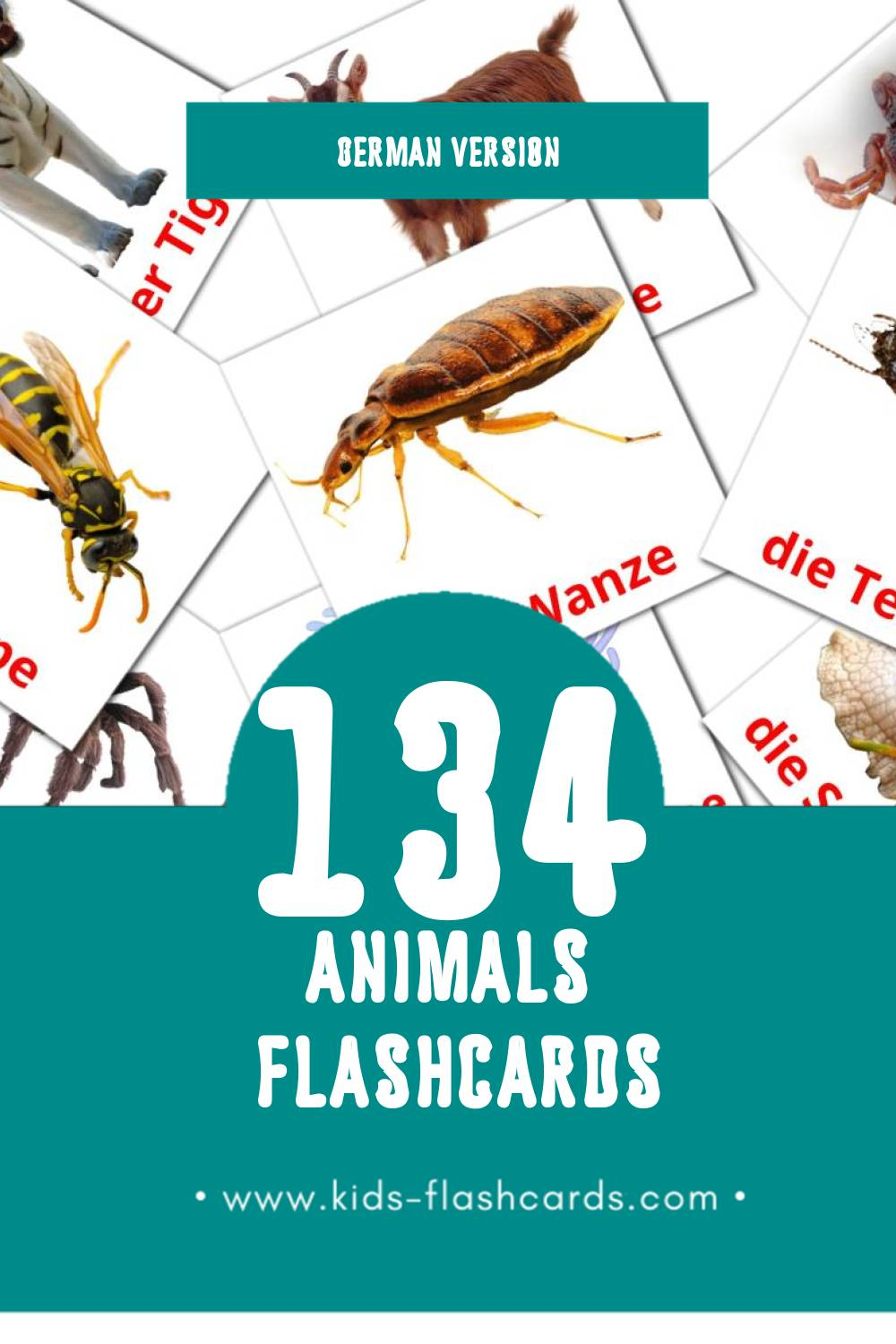 Visual Tiere Flashcards for Toddlers (128 cards in German)
