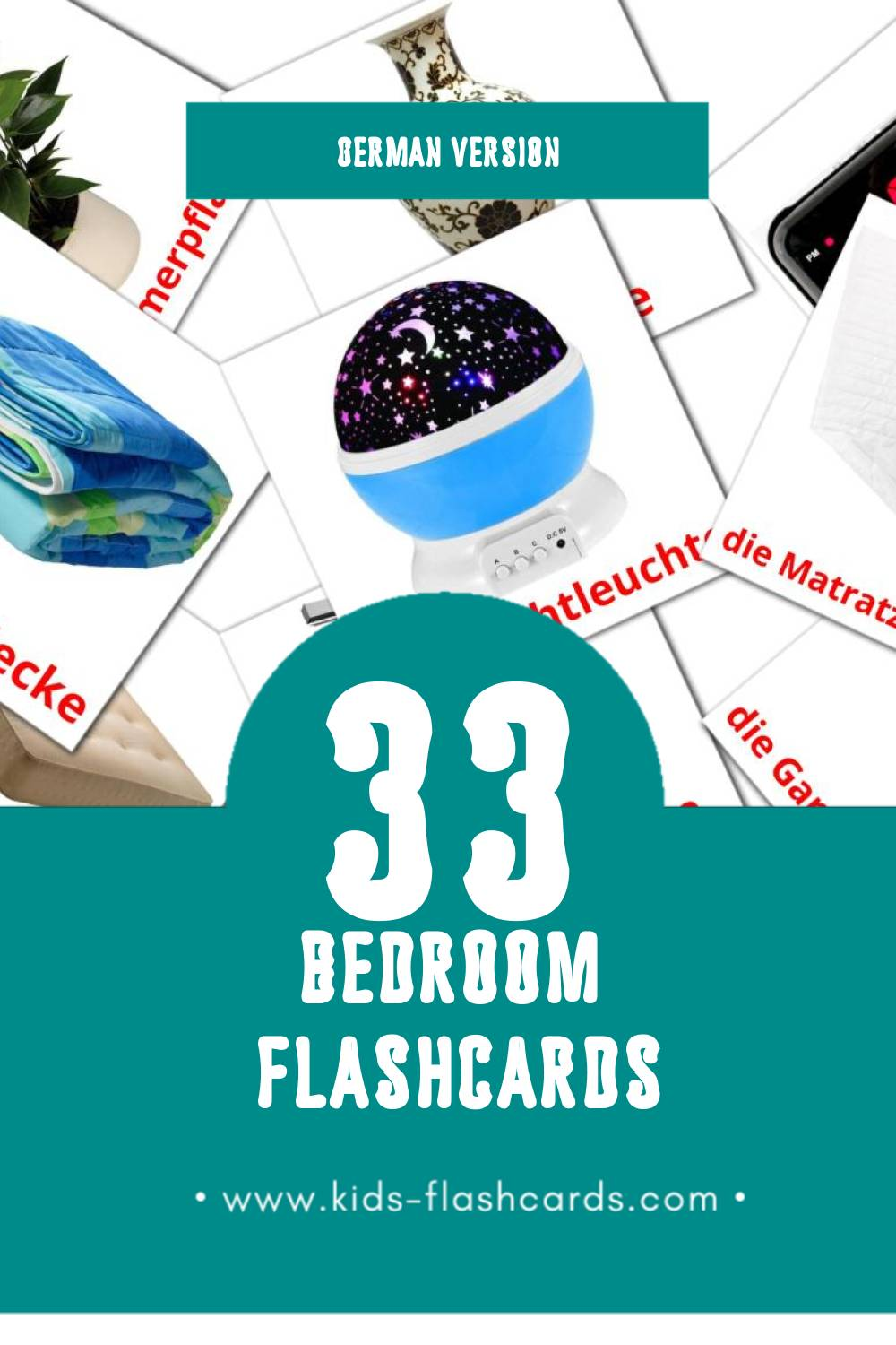 Visual das Schlafzimmer Flashcards for Toddlers (33 cards in German)