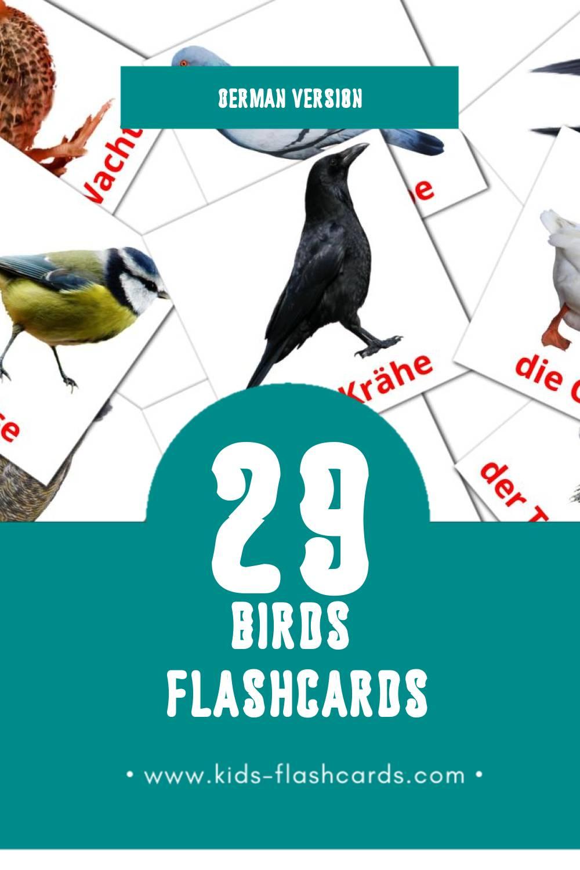 Visual Die Vögel Flashcards for Toddlers (28 cards in German)