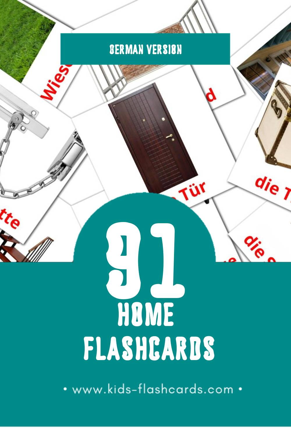 Visual Home Flashcards for Toddlers (74 cards in German)