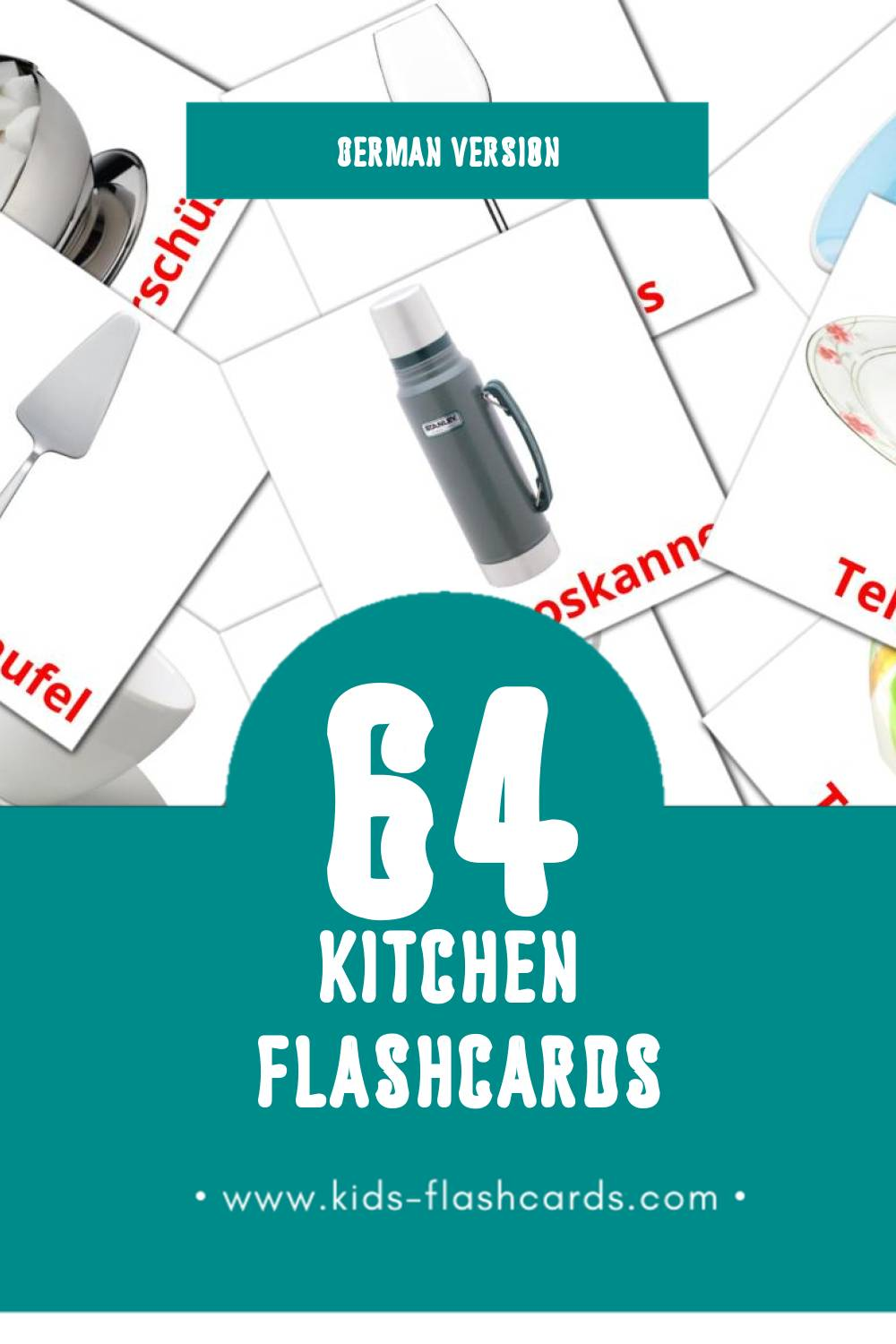 Visual Küche Flashcards for Toddlers (64 cards in German)