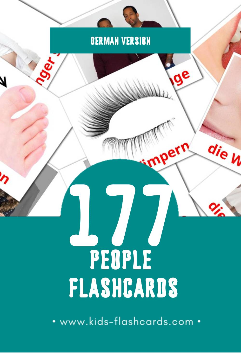 Visual Die Menschen Flashcards for Toddlers (58 cards in German)