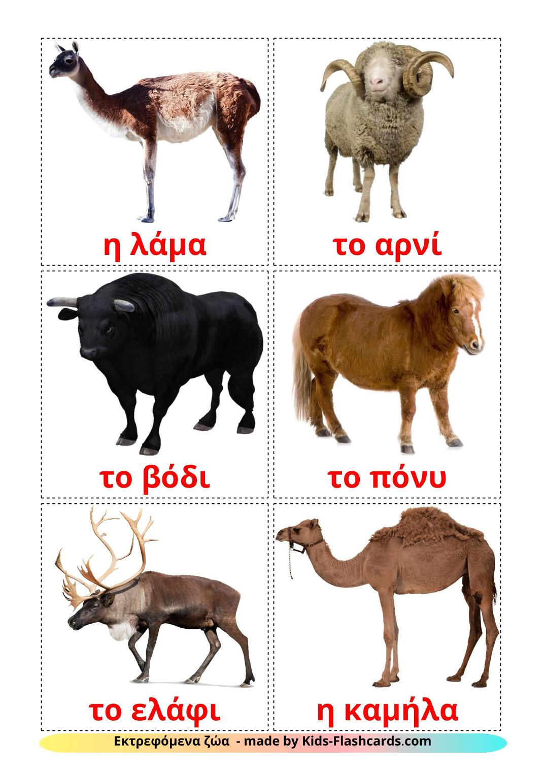 Farm animals - 15 Free Printable greek Flashcards