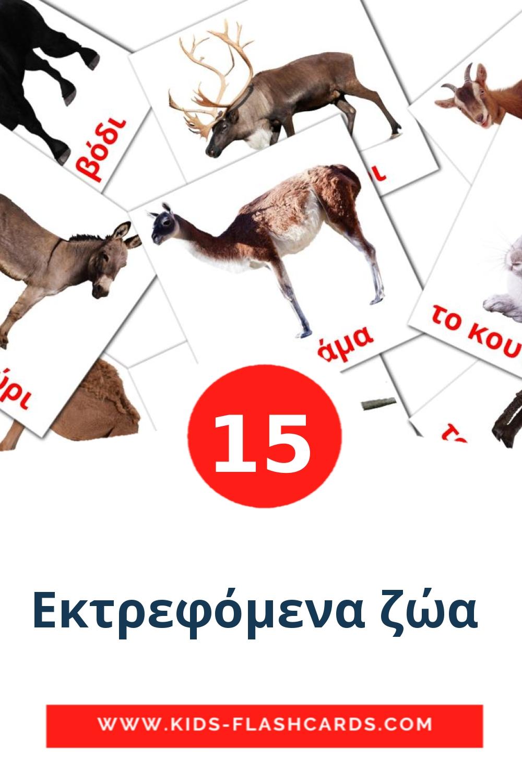 15 Εκτρεφόμενα ζώα  Picture Cards for Kindergarden in greek