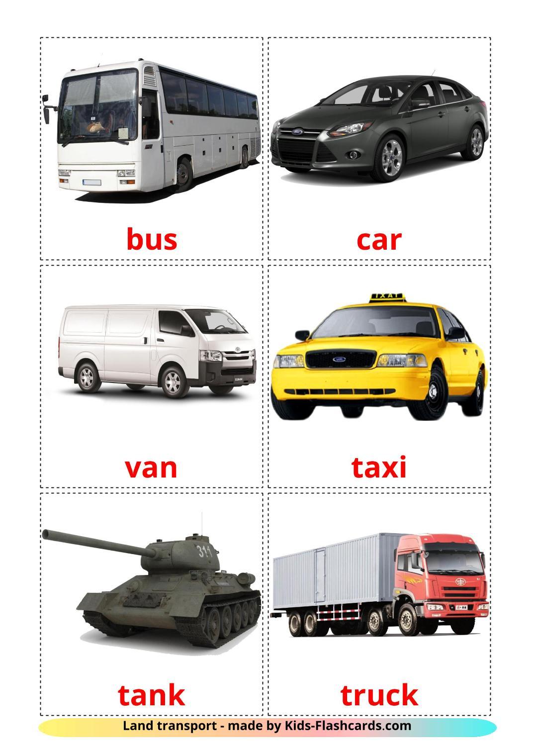 Land transport - 28 Free Printable english Flashcards