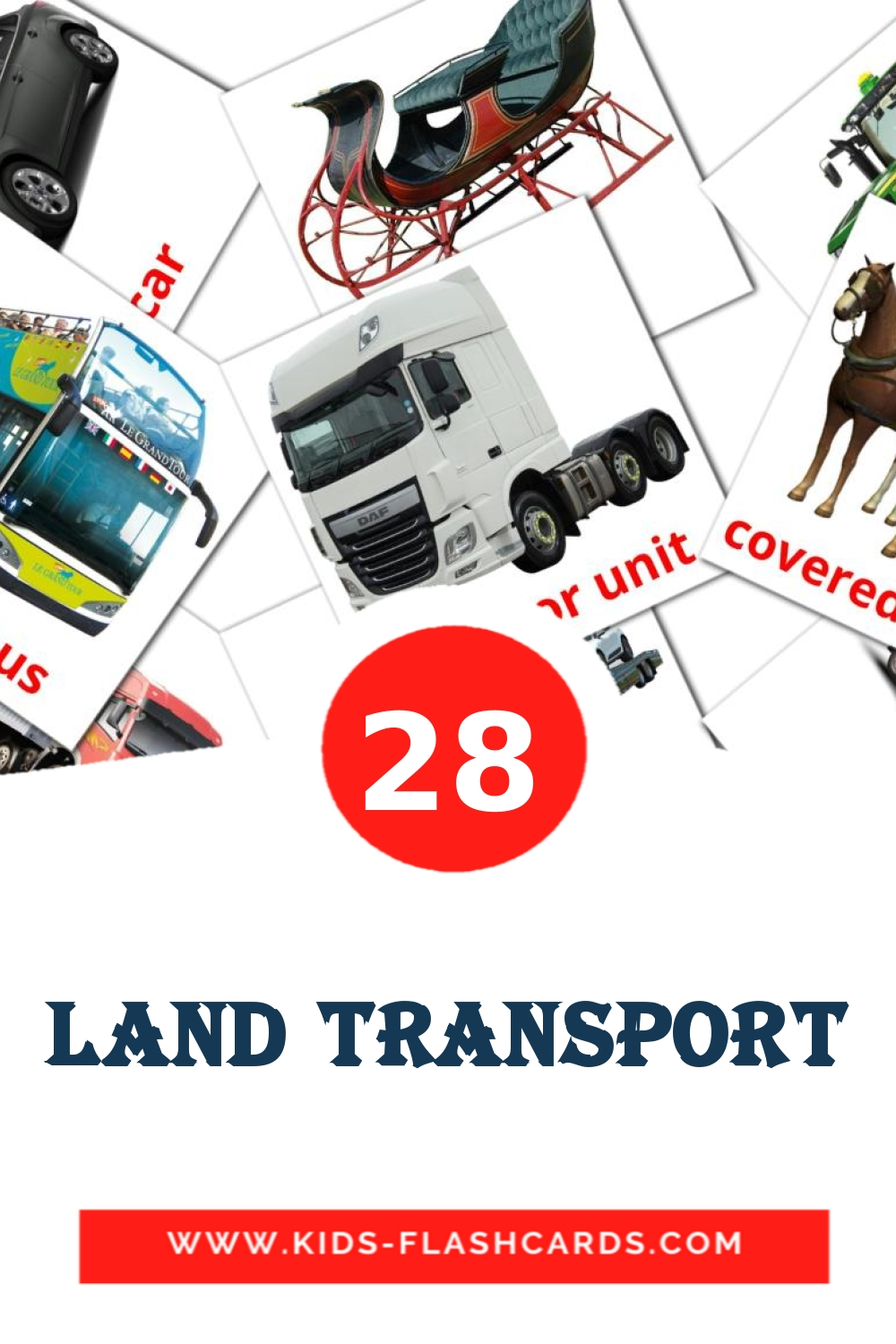 28 Land transport Picture Cards for Kindergarden in english