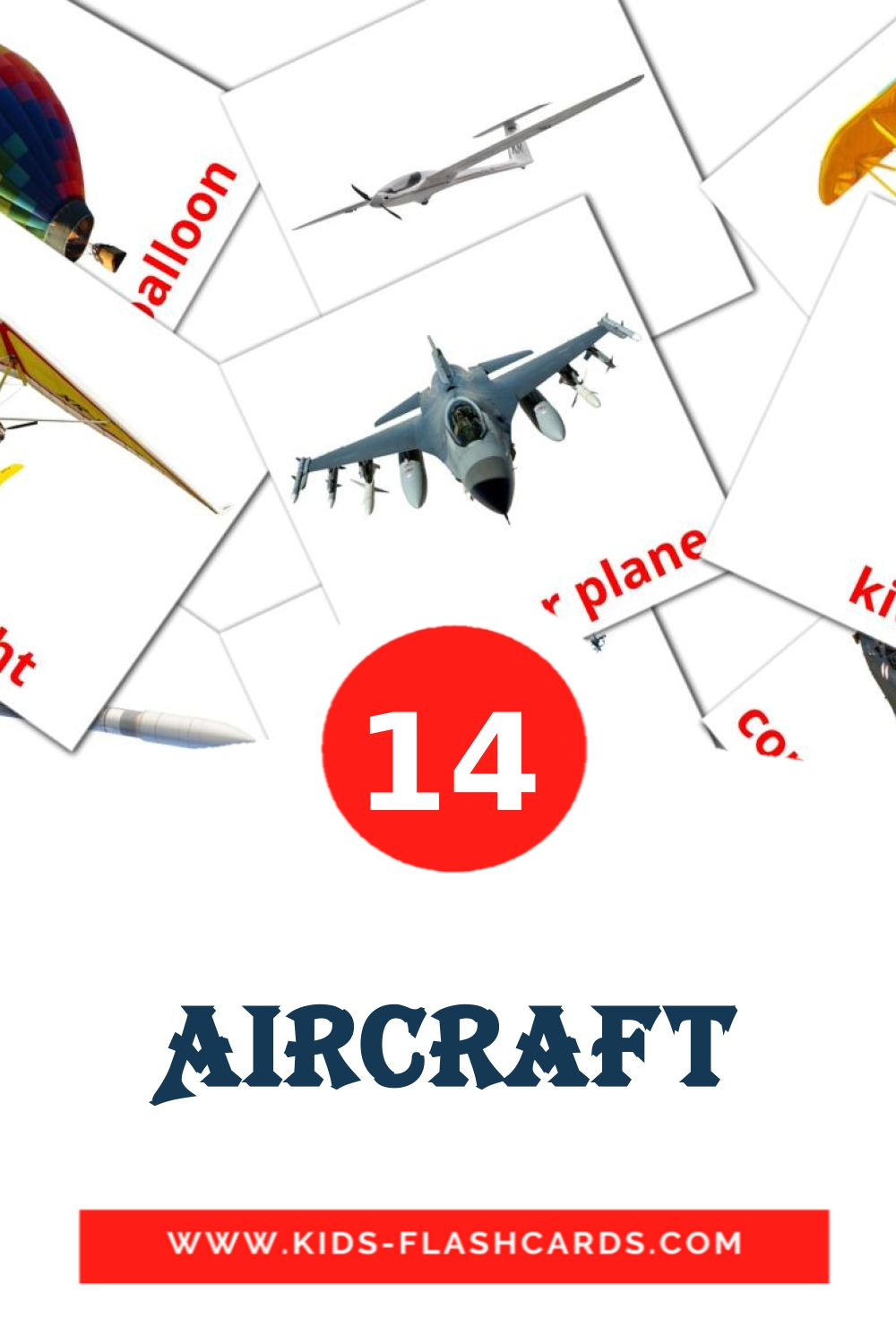 14 Aircraft Picture Cards for Kindergarden in english