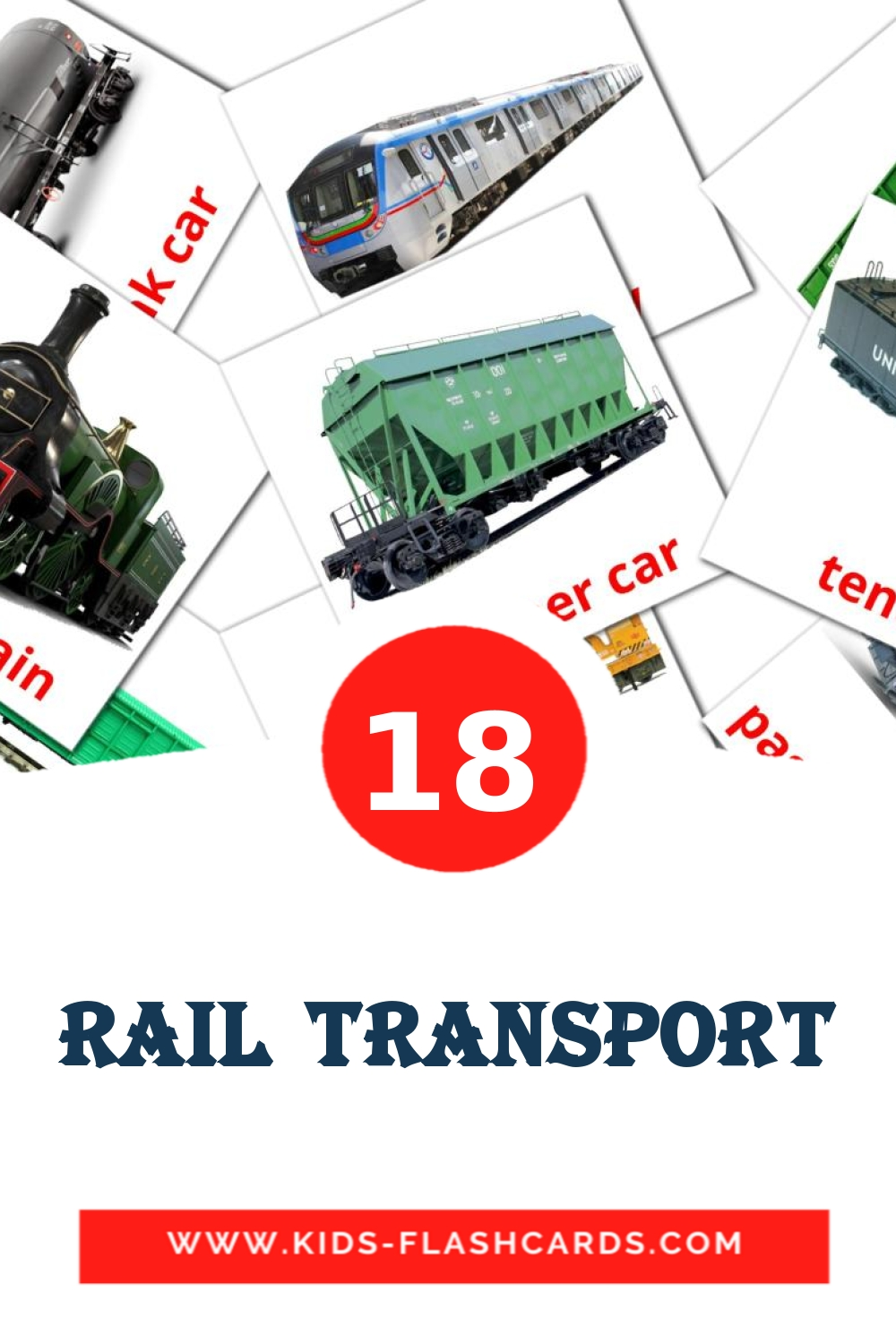 18 Rail transport Picture Cards for Kindergarden in english