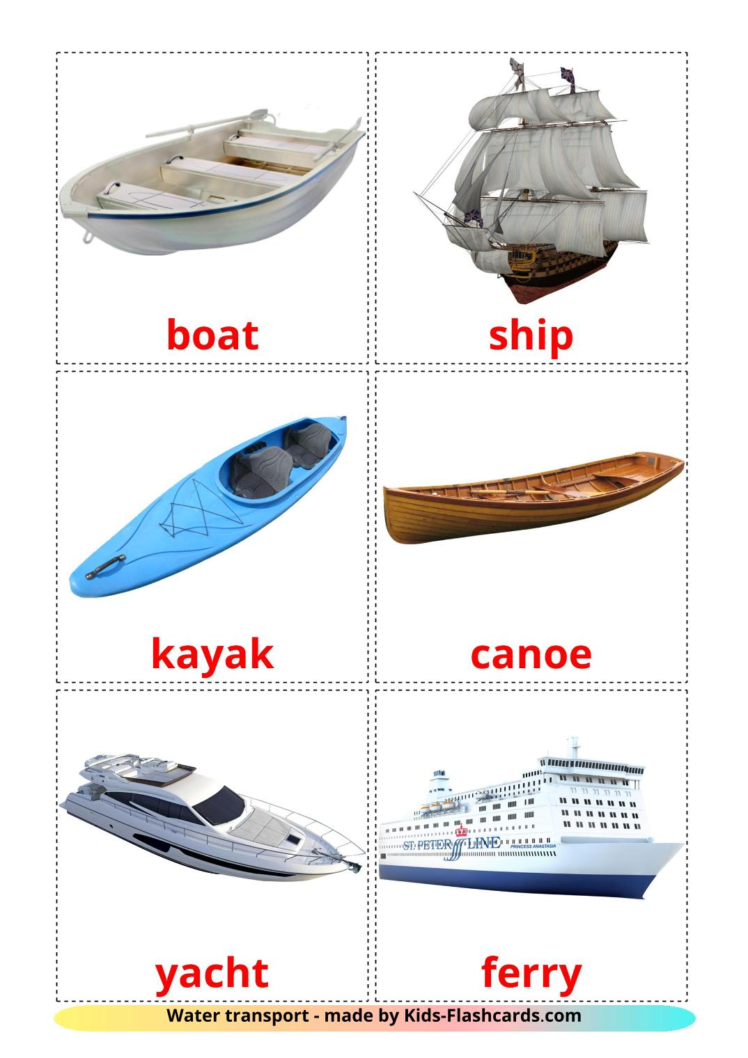 Water transport - 18 Free Printable english Flashcards