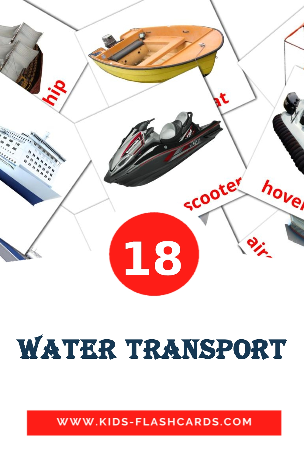18 Water transport Picture Cards for Kindergarden in english