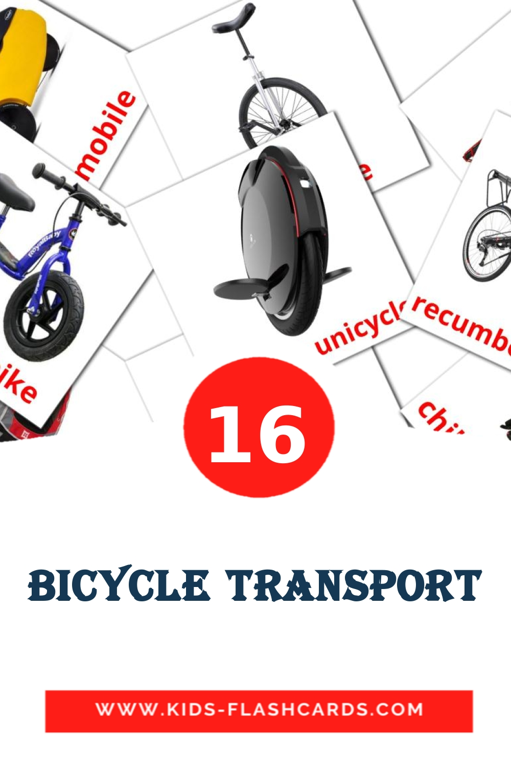 16 Bicycle transport Picture Cards for Kindergarden in english