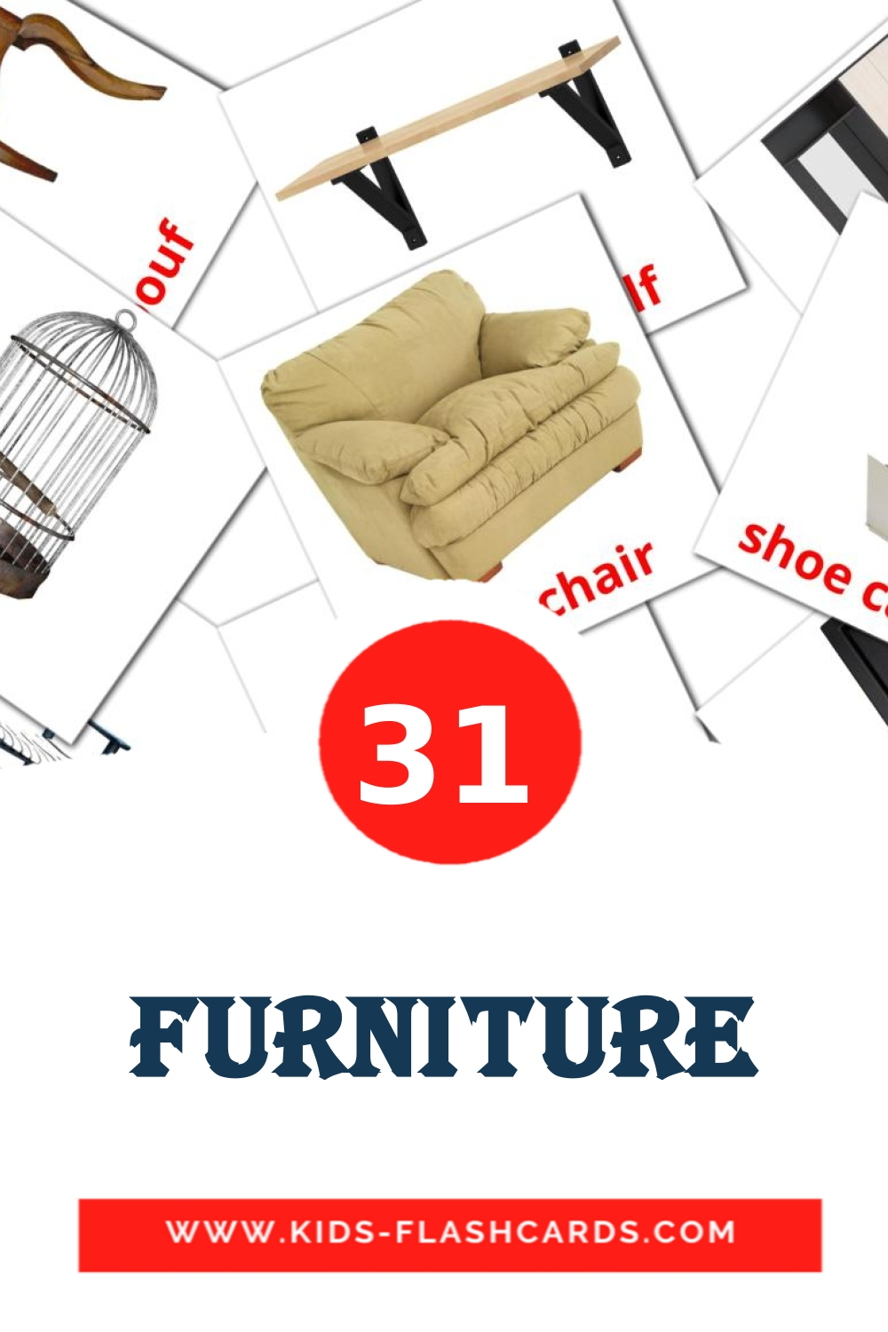 31 Furniture Picture Cards for Kindergarden in english