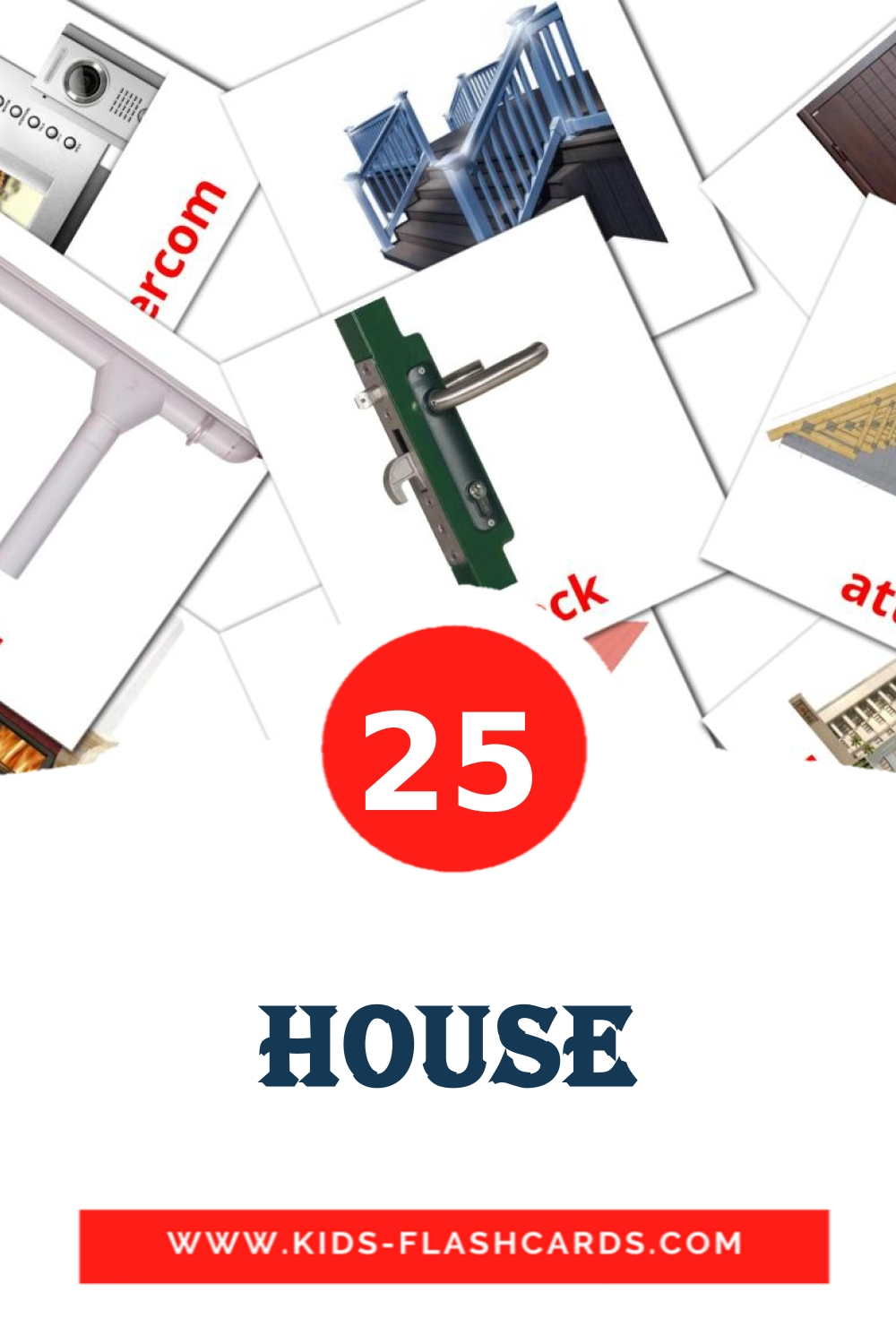 25 House Picture Cards for Kindergarden in english