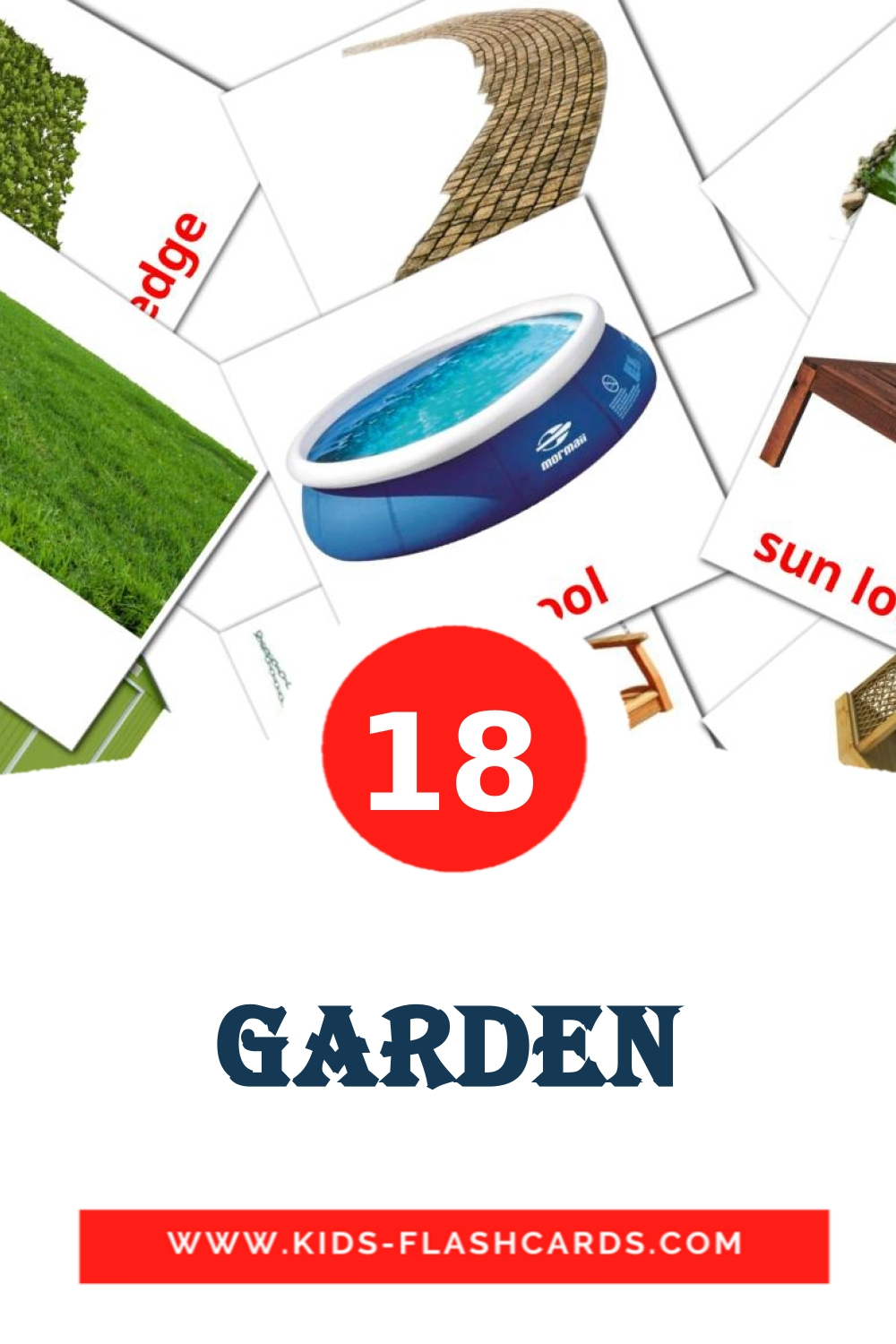 18 Garden Picture Cards for Kindergarden in english
