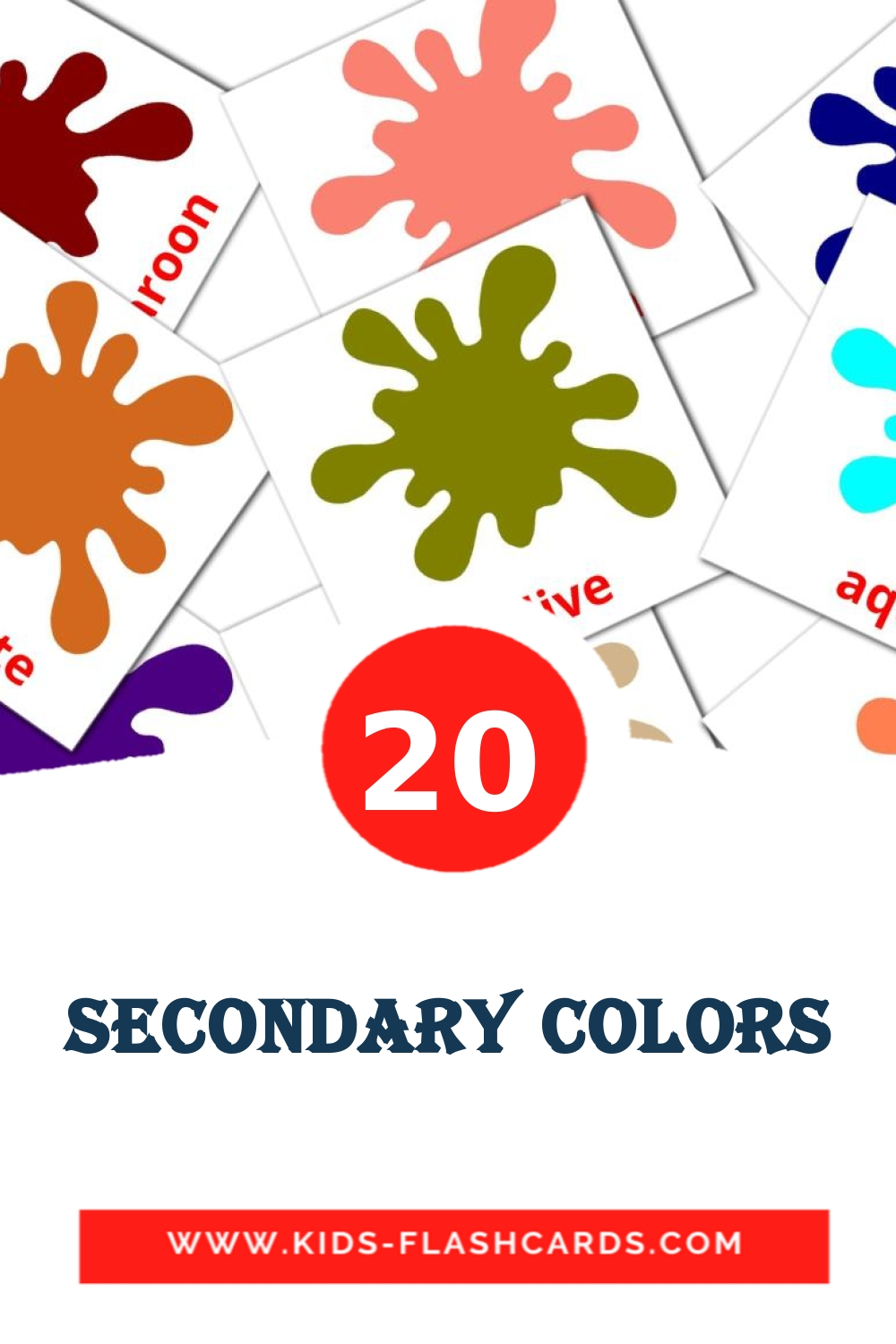 20 Secondary colors Picture Cards for Kindergarden in english