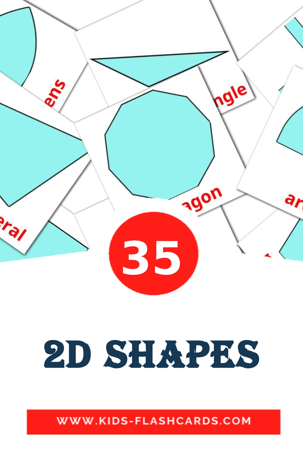 35 2D Shapes Picture Cards for Kindergarden in english