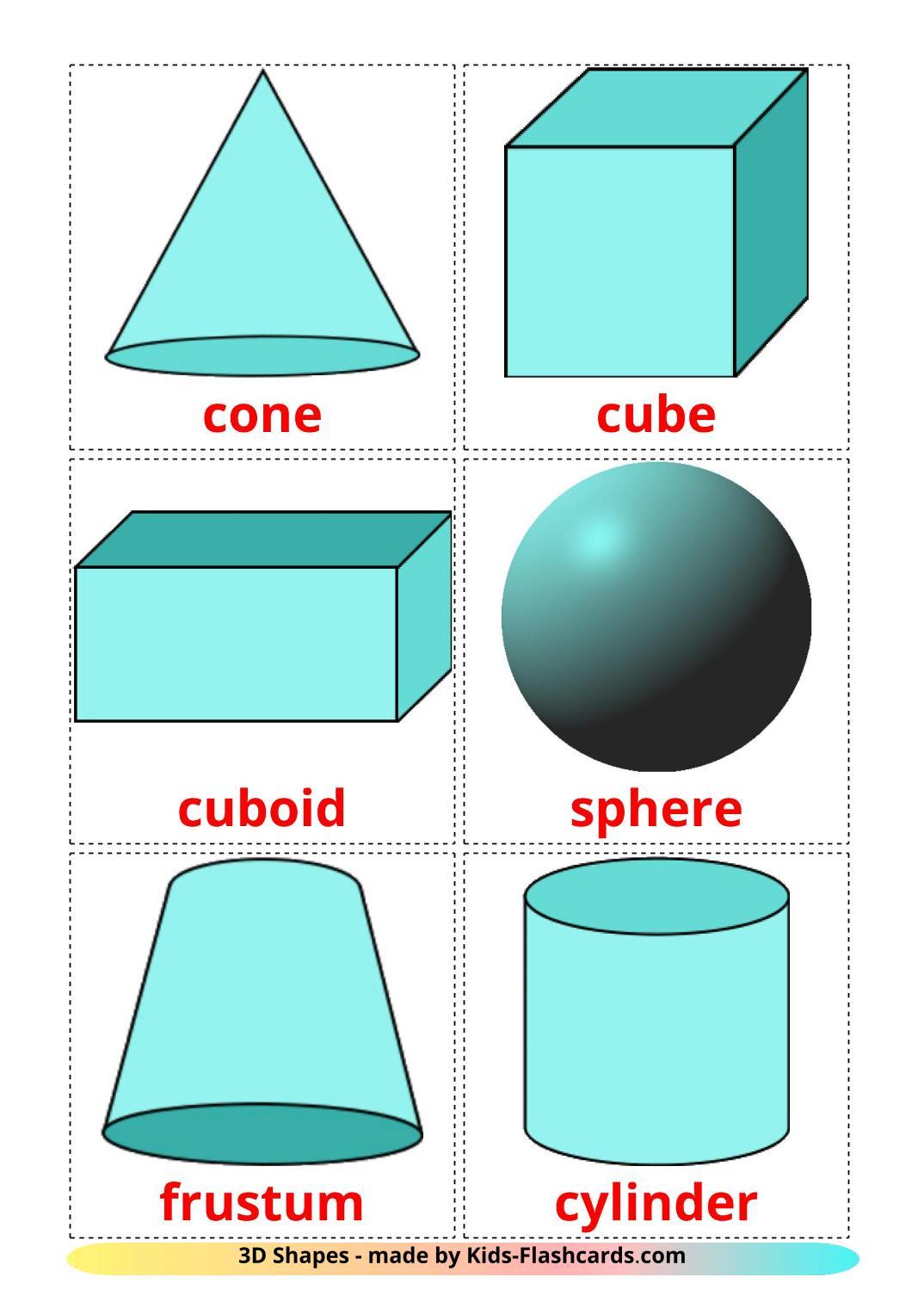 3D Shapes - 17 Free Printable english Flashcards