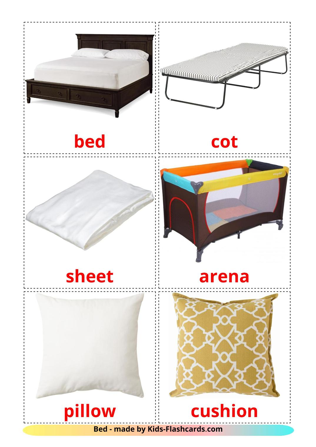 Bed picture cards for Kindergarden in english
