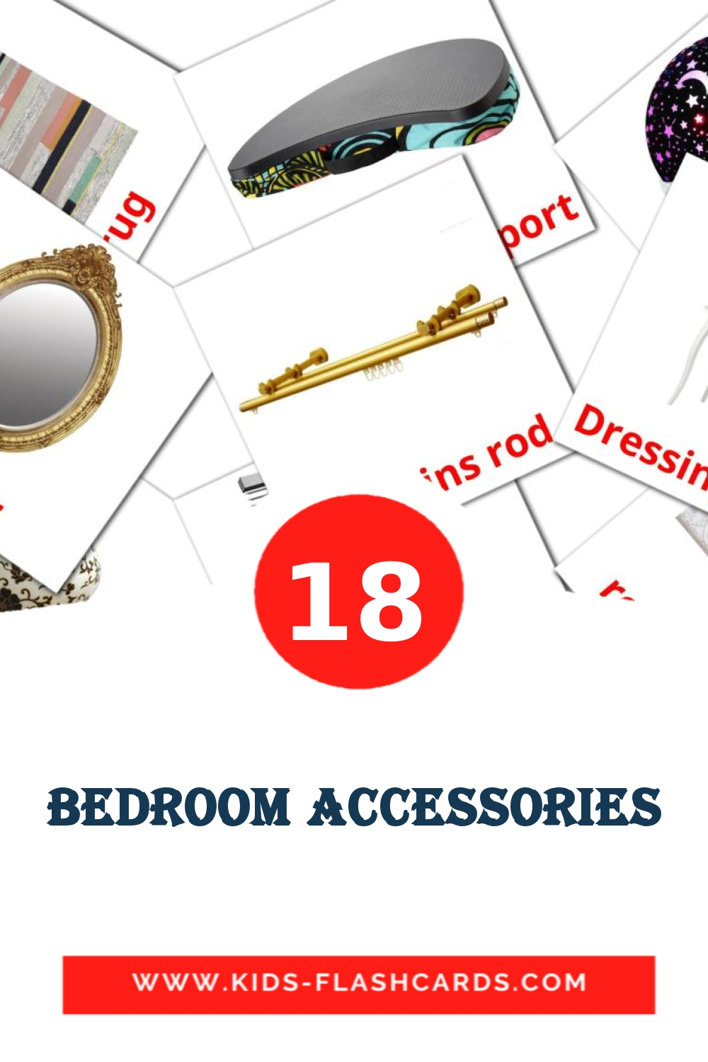 18 Bedroom accessories Picture Cards for Kindergarden in english