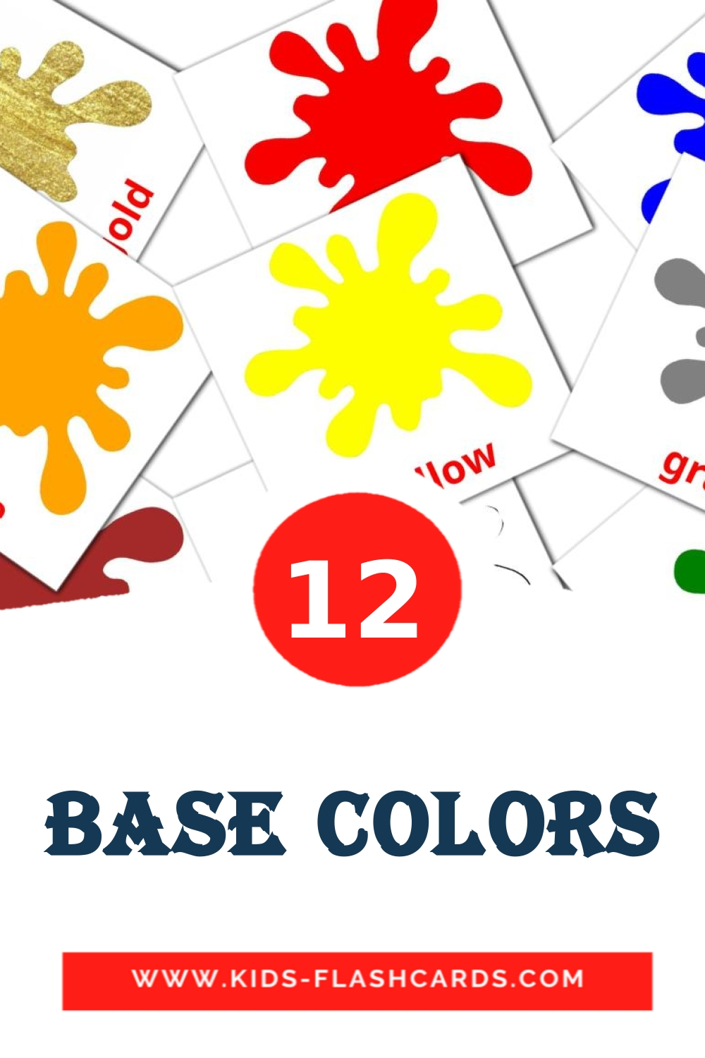 12 Base colors Picture Cards for Kindergarden in english