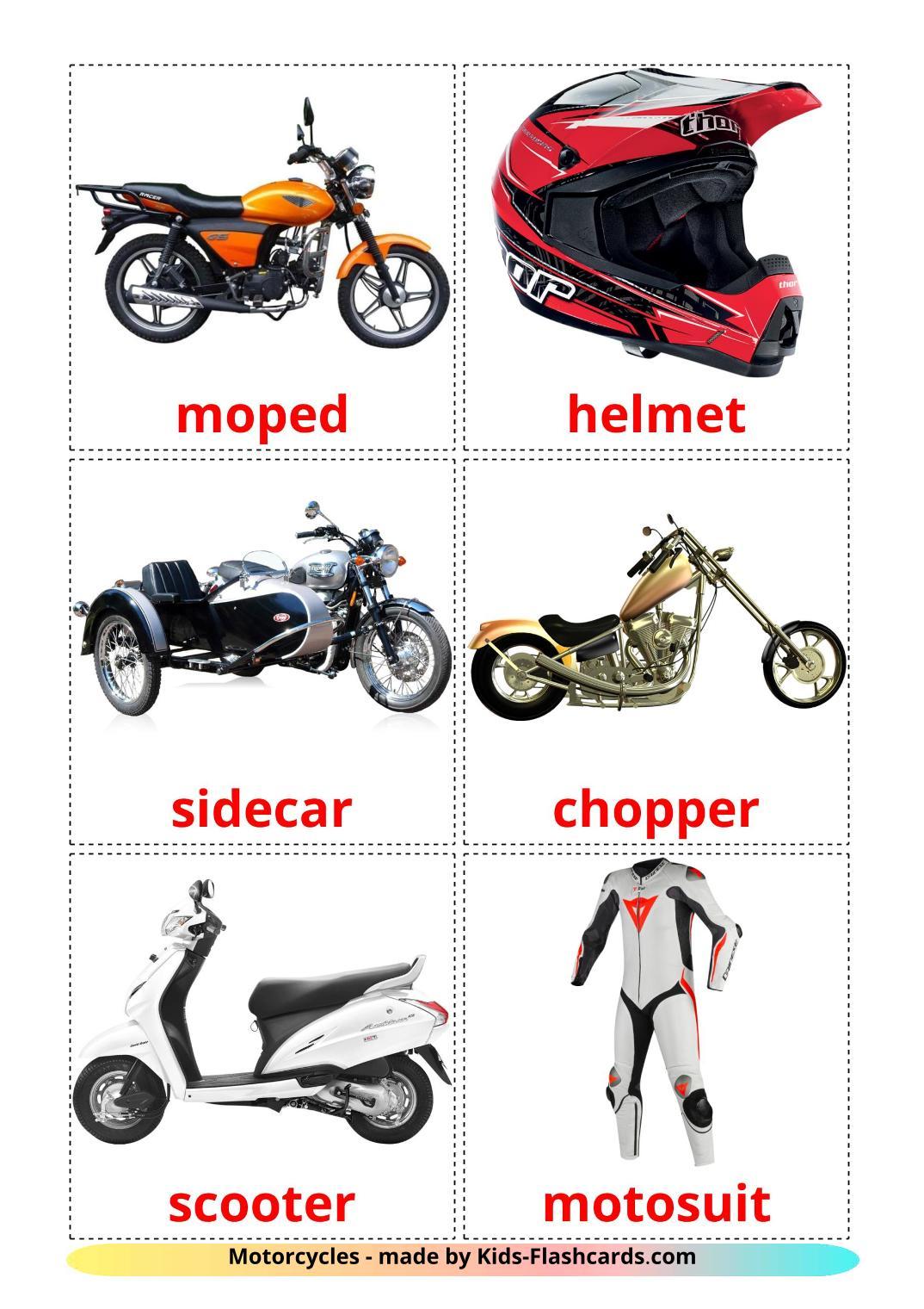 Motorcycles - 14 Free Printable english Flashcards