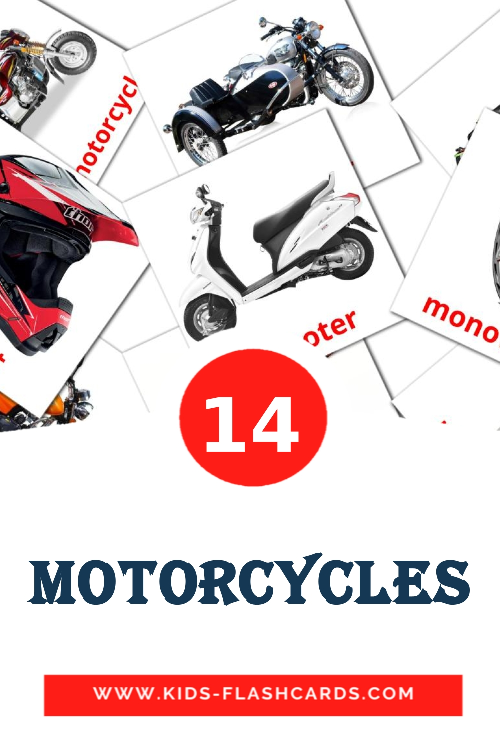 14 Motorcycles Picture Cards for Kindergarden in english
