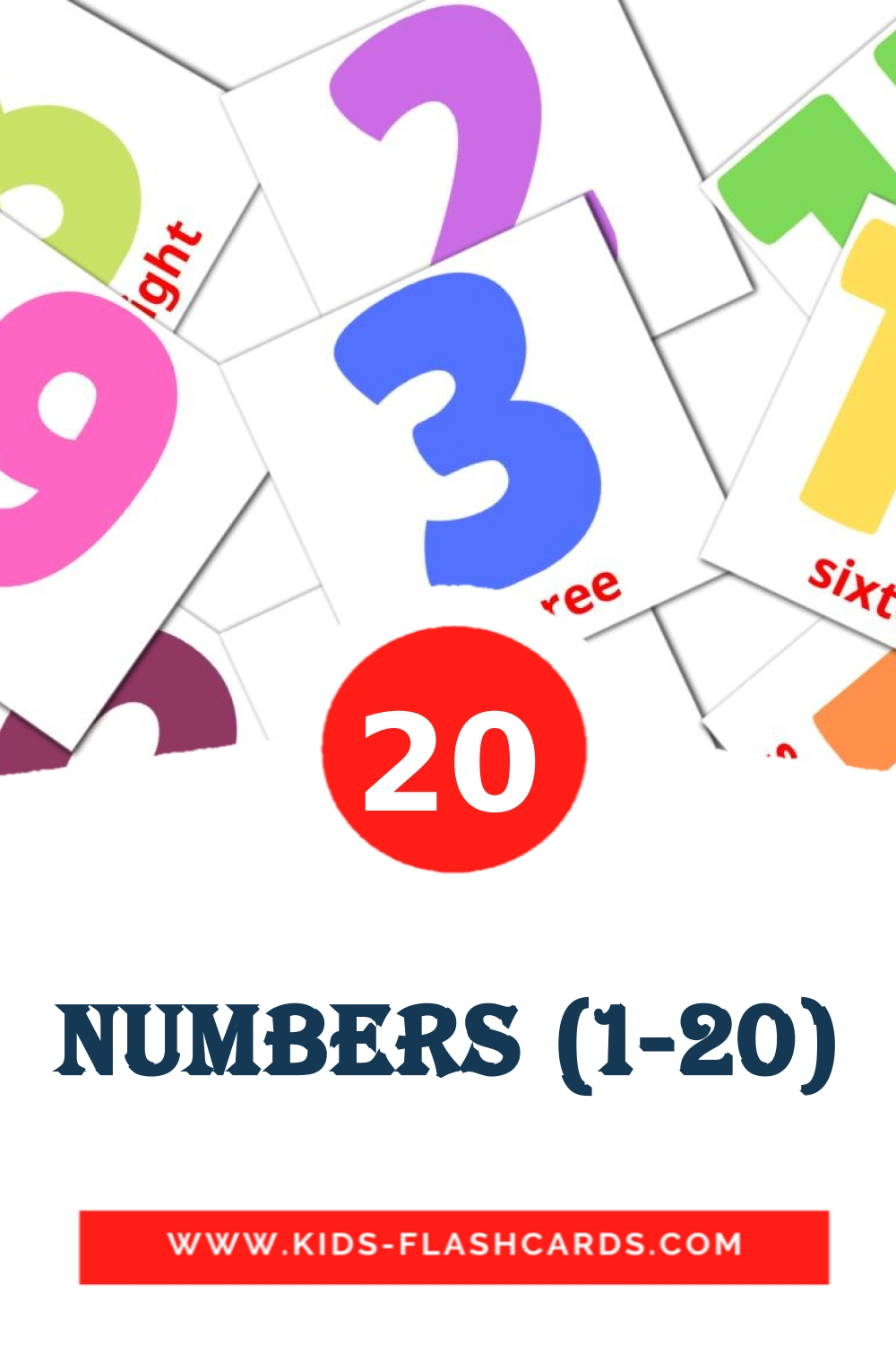 20 Numbers (1-20) Picture Cards for Kindergarden in english