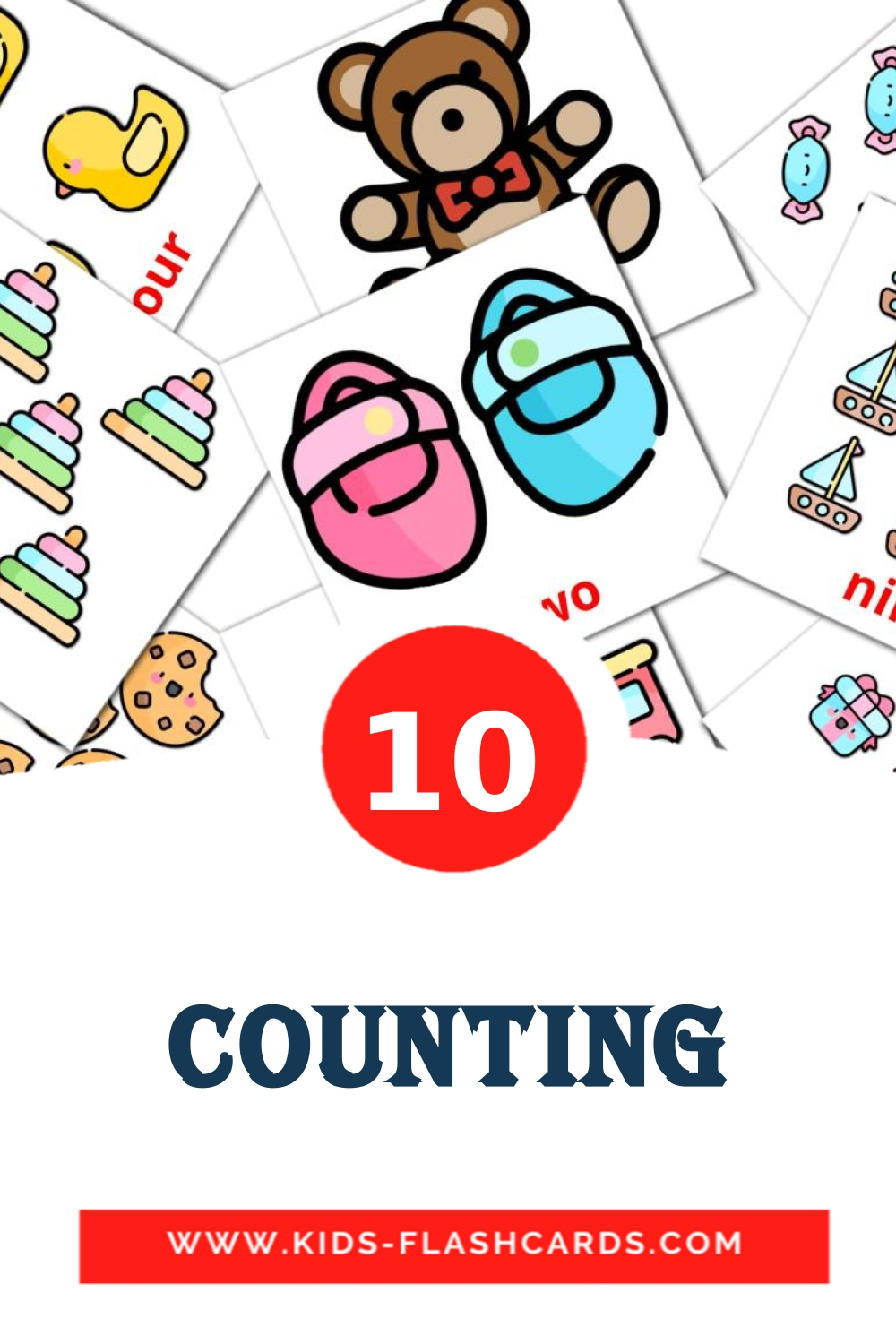 10 Counting Picture Cards for Kindergarden in english