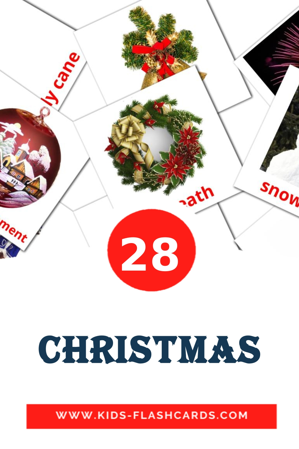 28 Christmas Picture Cards for Kindergarden in english