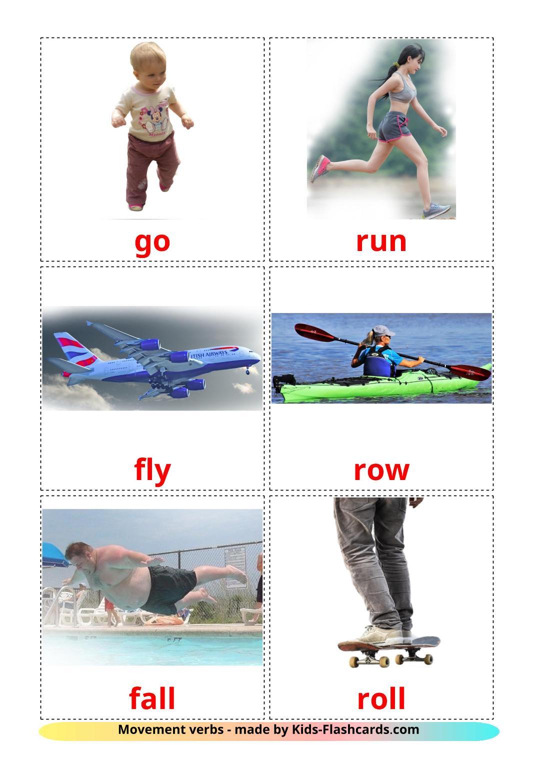 Movement verbs - 22 Free Printable english Flashcards