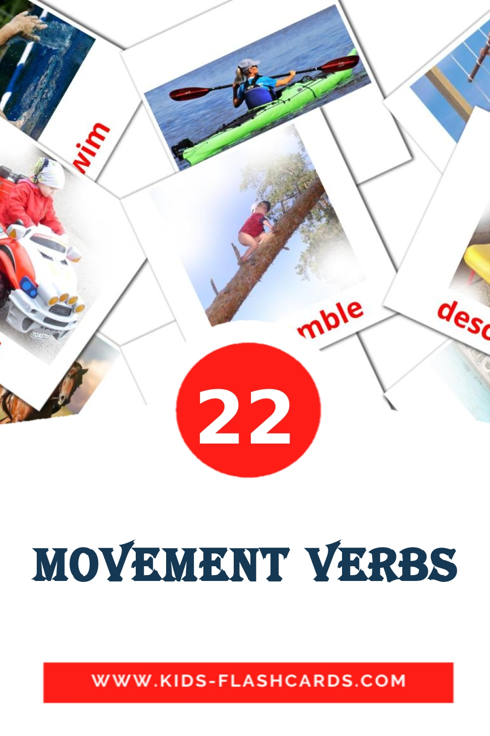 22 Movement verbs Picture Cards for Kindergarden in english