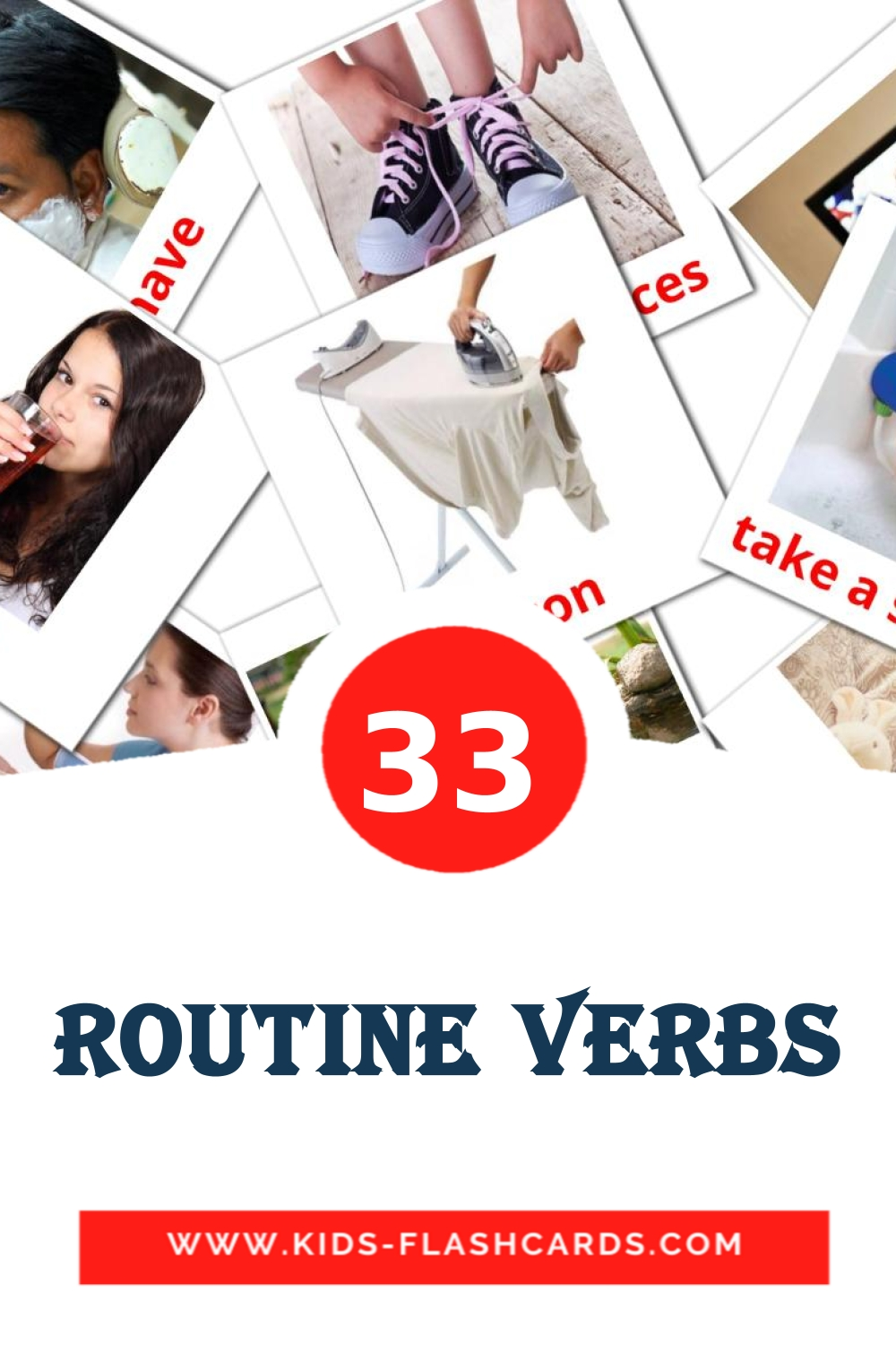 33 Routine verbs Picture Cards for Kindergarden in english
