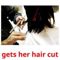 gets her hair cut picture flashcards