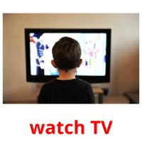 watch TV picture flashcards
