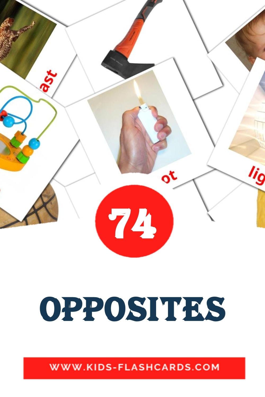 Opposites на английском для Детского Сада (74 карточек)