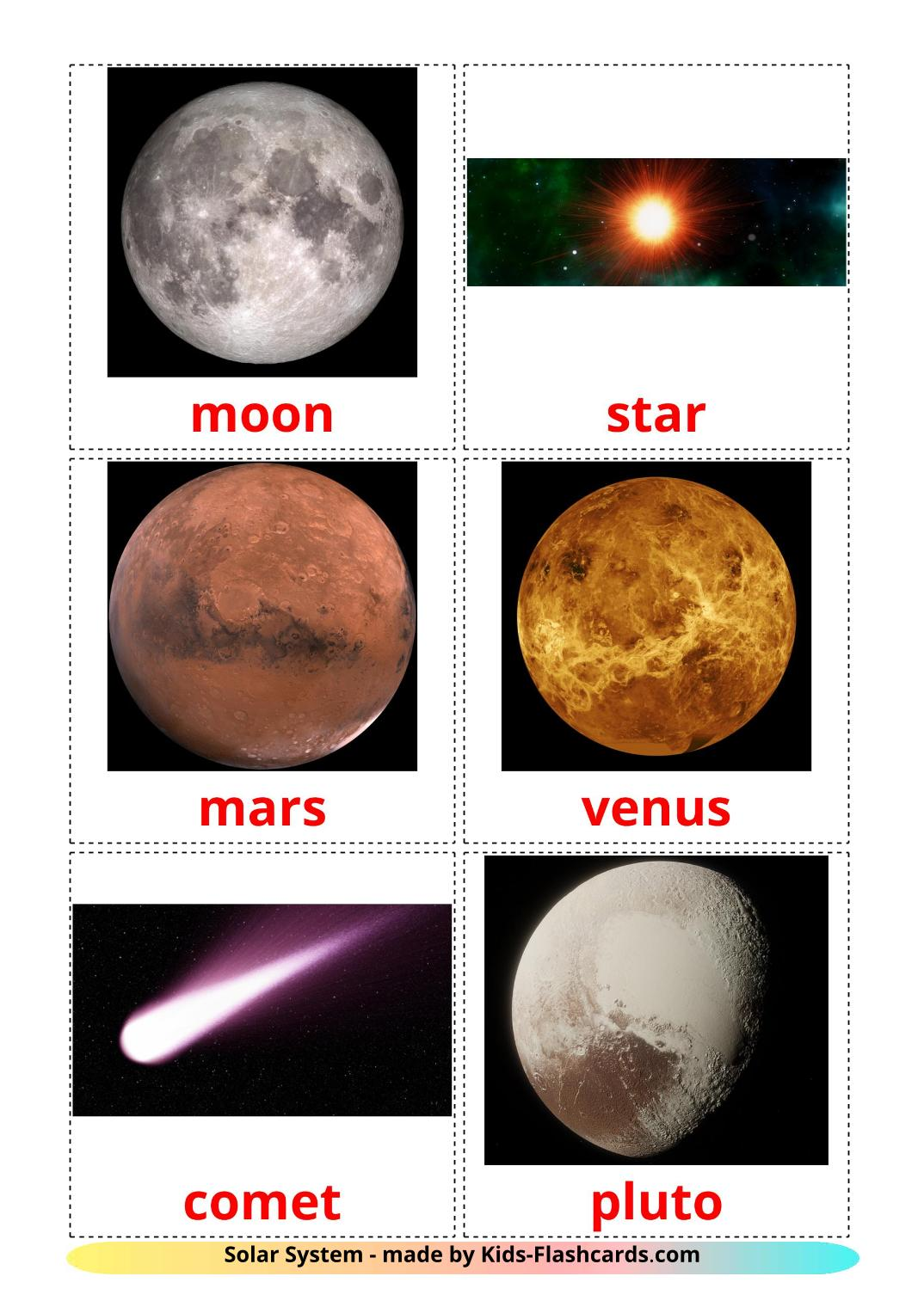 Solar System - 20 Free Printable english Flashcards